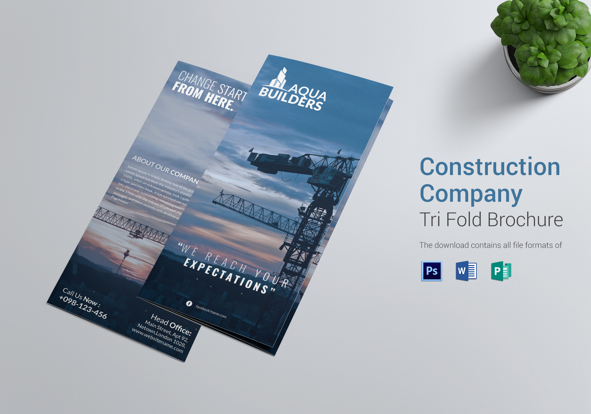 Construction company tri fold brochure design template in for Templates for tri fold brochures