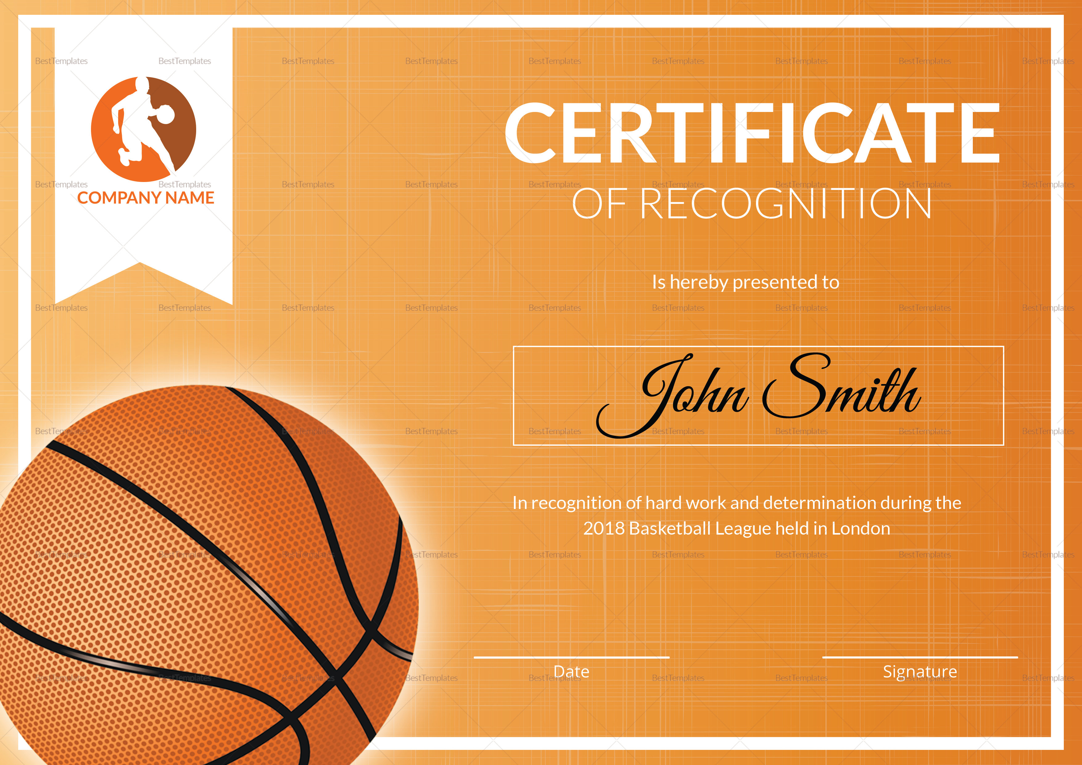Basketball Recognition Certificate Template