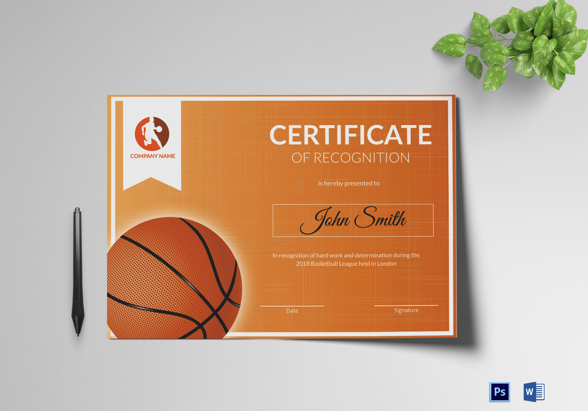 Basketball recognition certificate design template in psd word basketball recognition certificate template yelopaper Choice Image