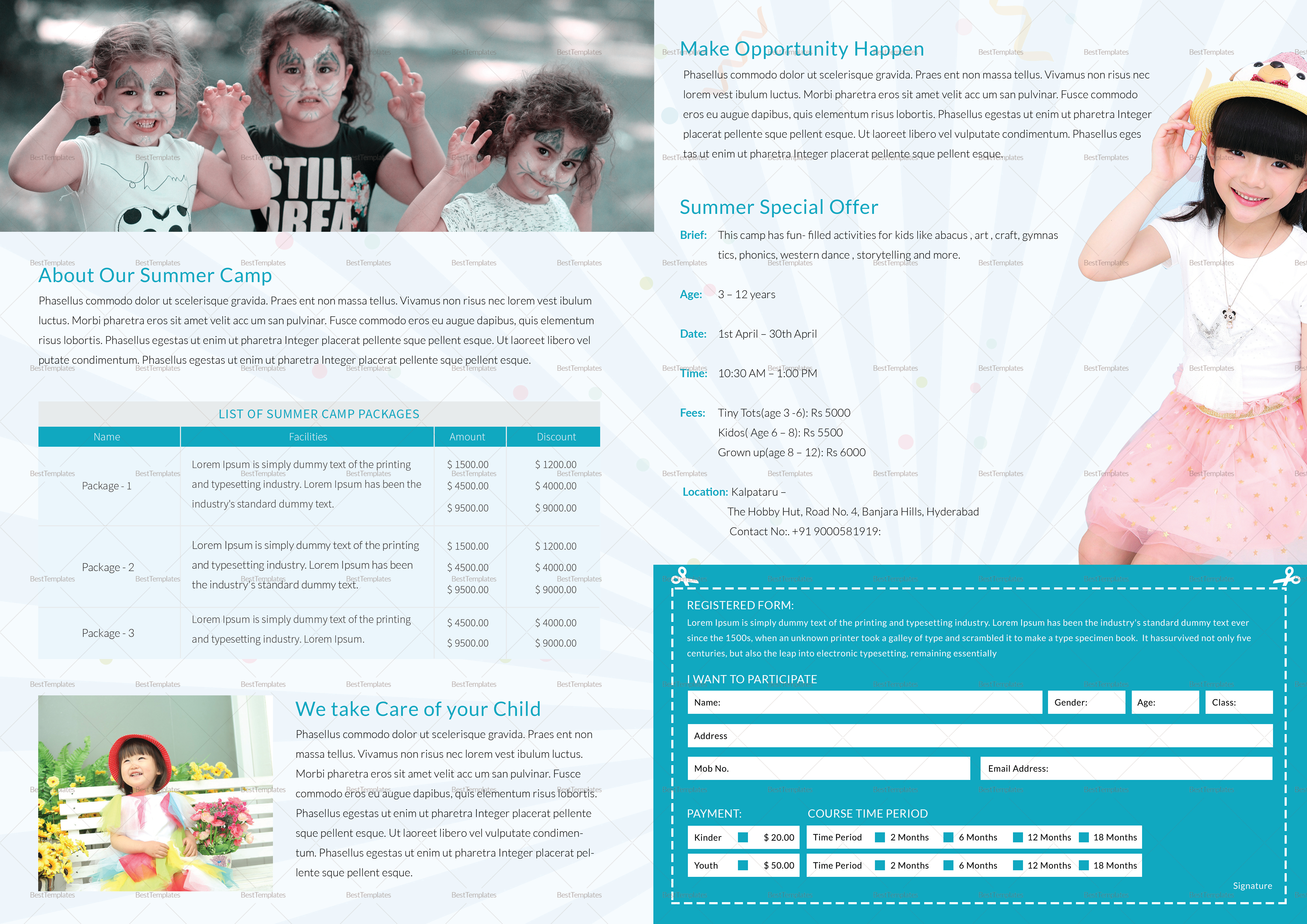 Kids Camp Bi Folding Brochure Design Template
