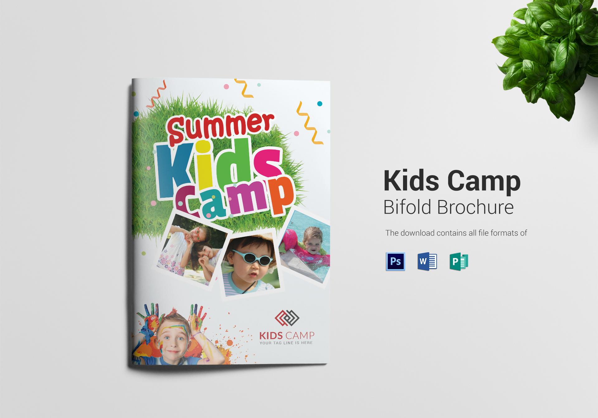 Kids Camp Bi Folding Brochure Design Template In Psd Word Publisher
