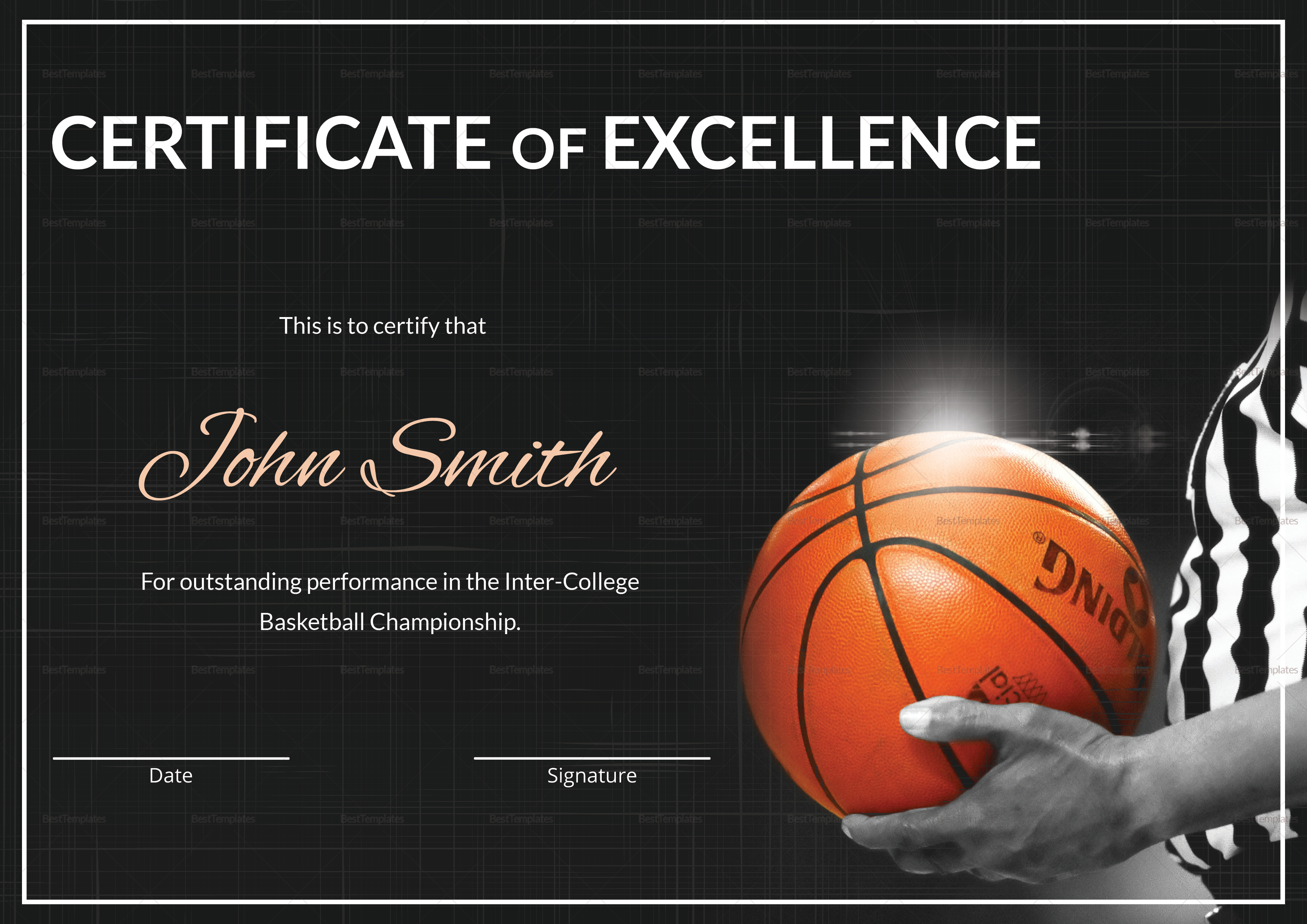 basketball certificate templates - basketball excellence certificate design template in psd word