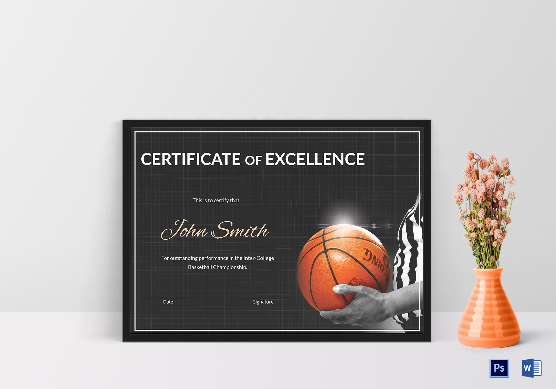 Basketball Excellence Certificate Design Template in PSD, Word
