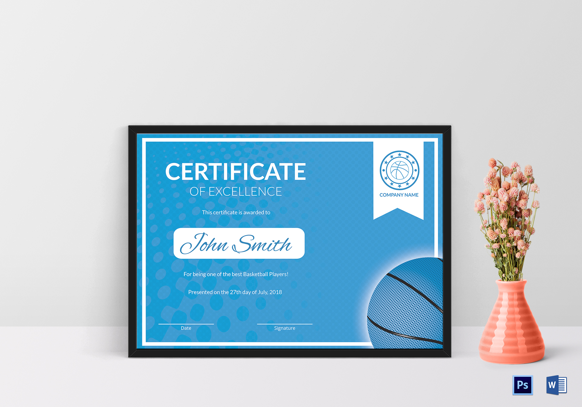 Printable Basketball Excellence Certificate Template