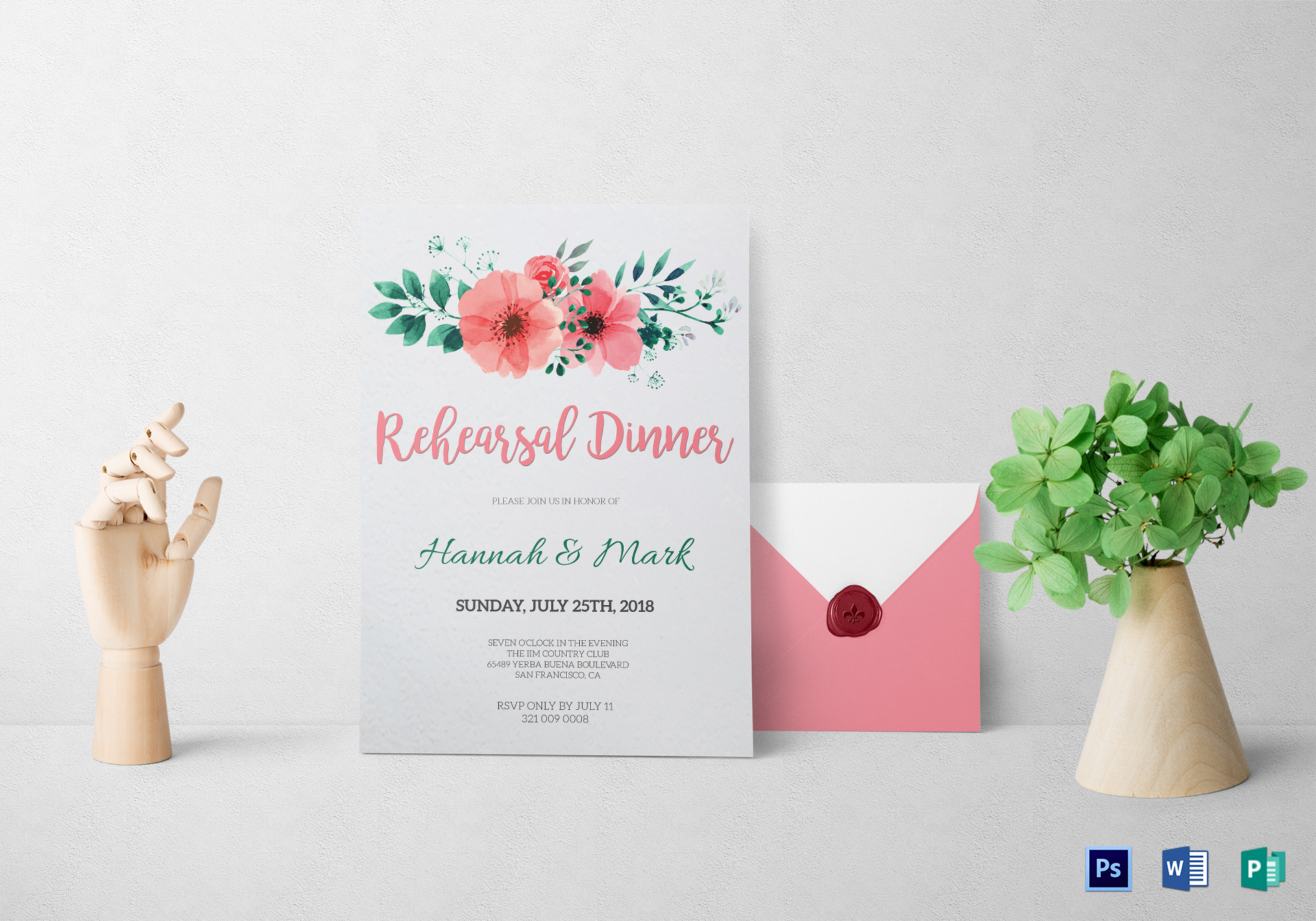 Floral Rehearsal Dinner Invitation