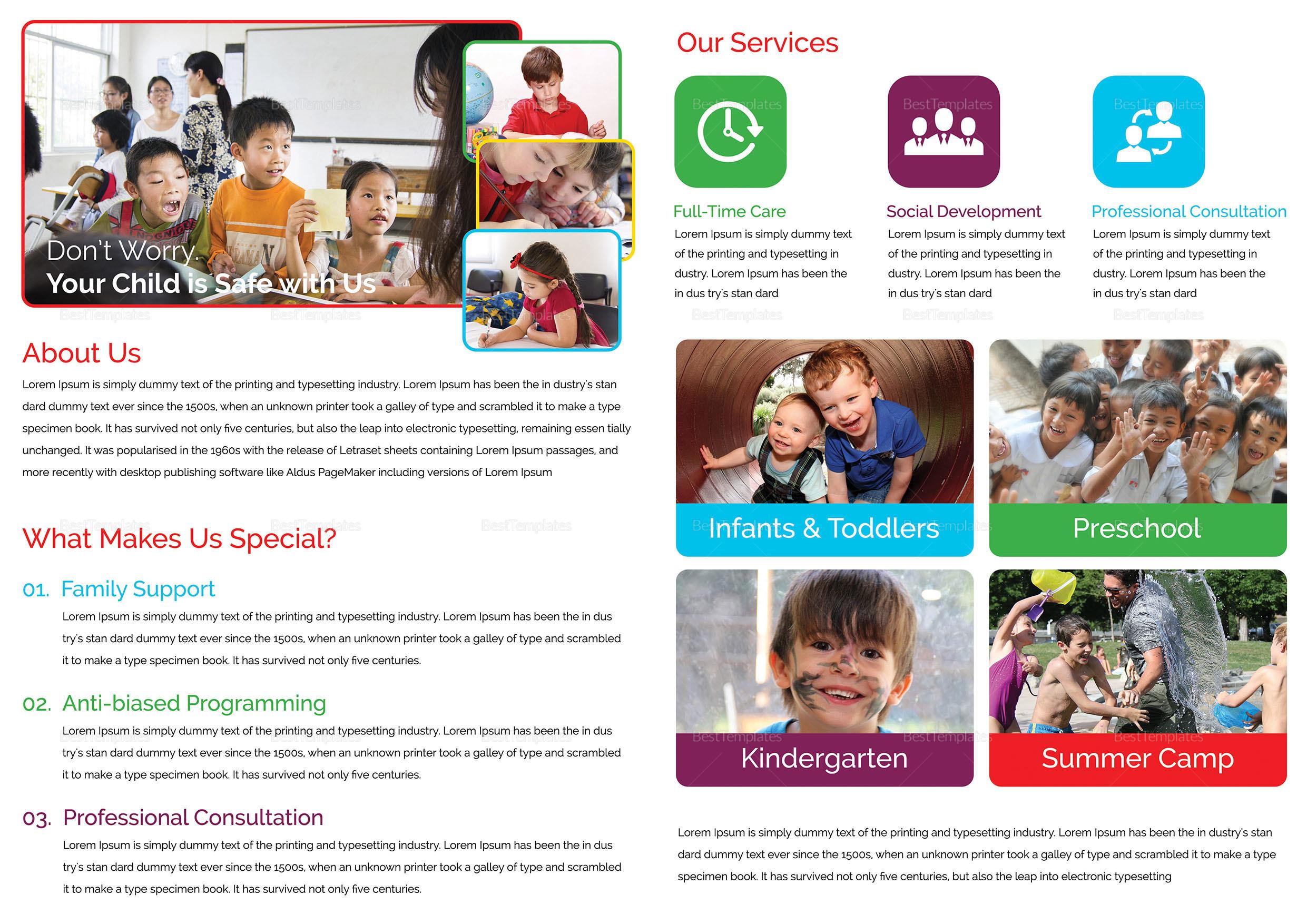 Child Care Bi Fold Brochure Template 2