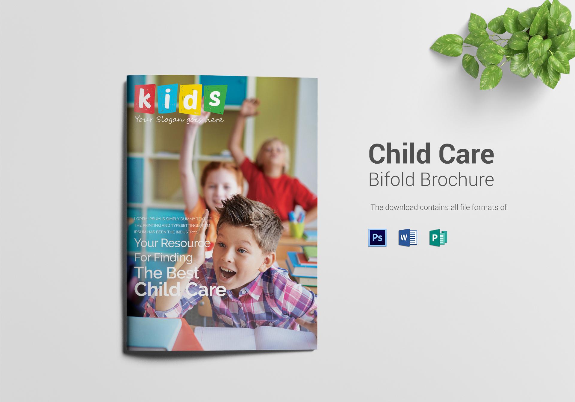 Child Care Bi Fold Brochure Design Template