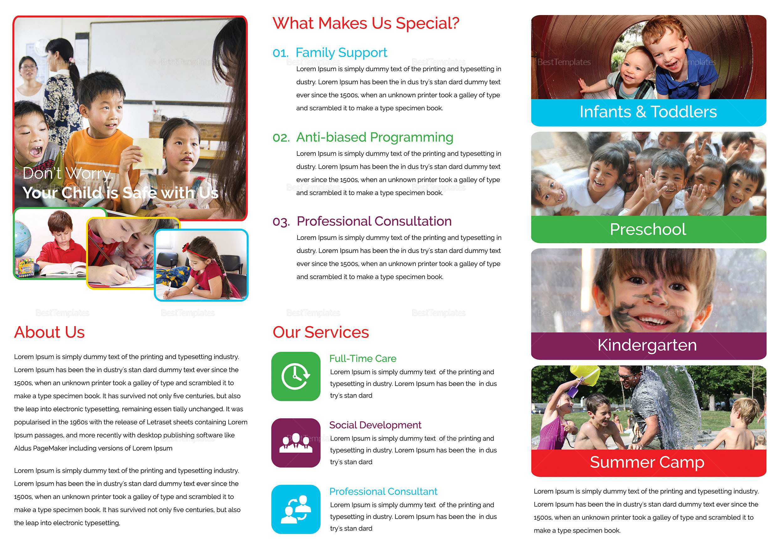 Child Care Tri Fold Brochure Template 2