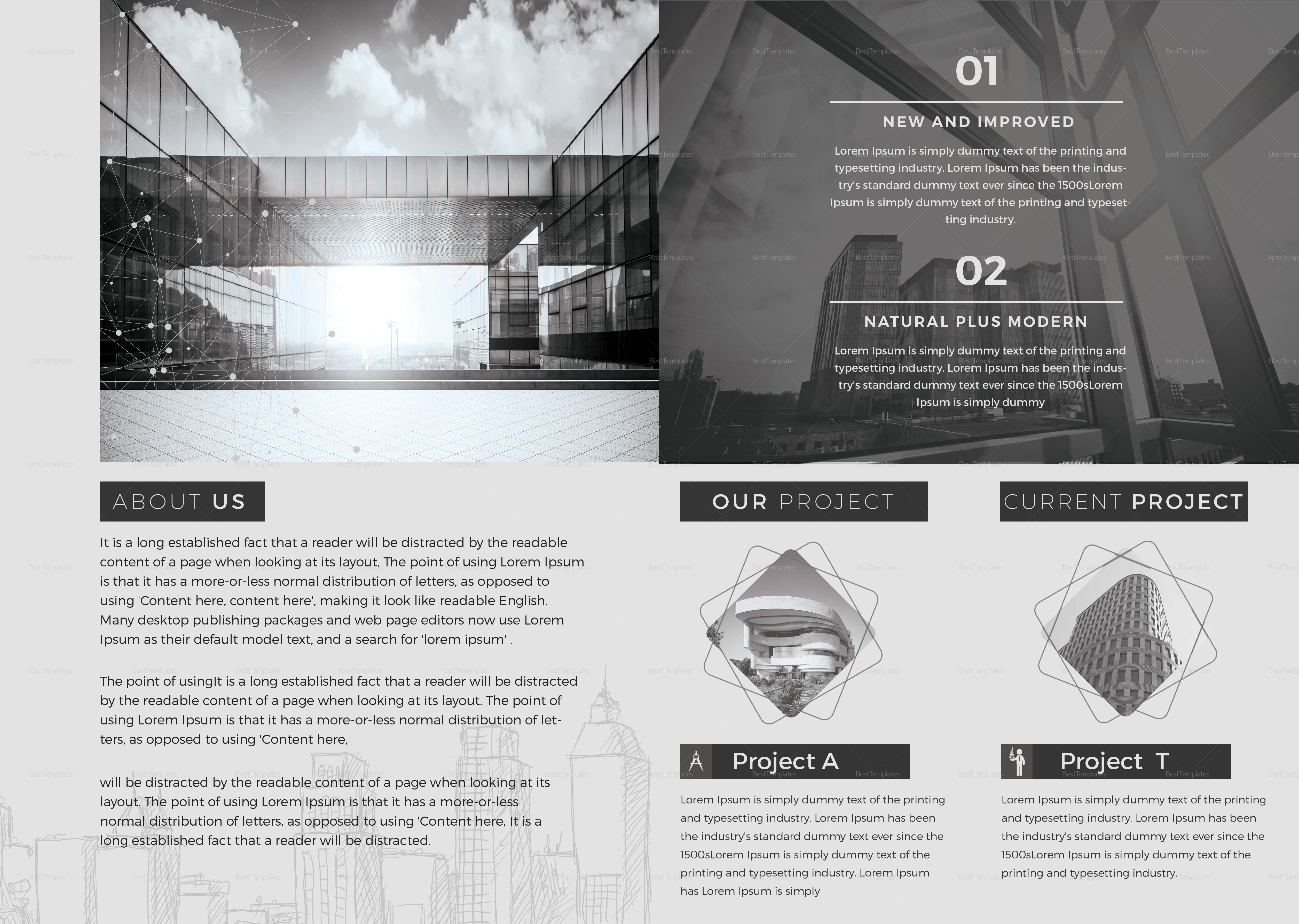 Minimal Architecture Brochure Design Template In Psd Word Publisher