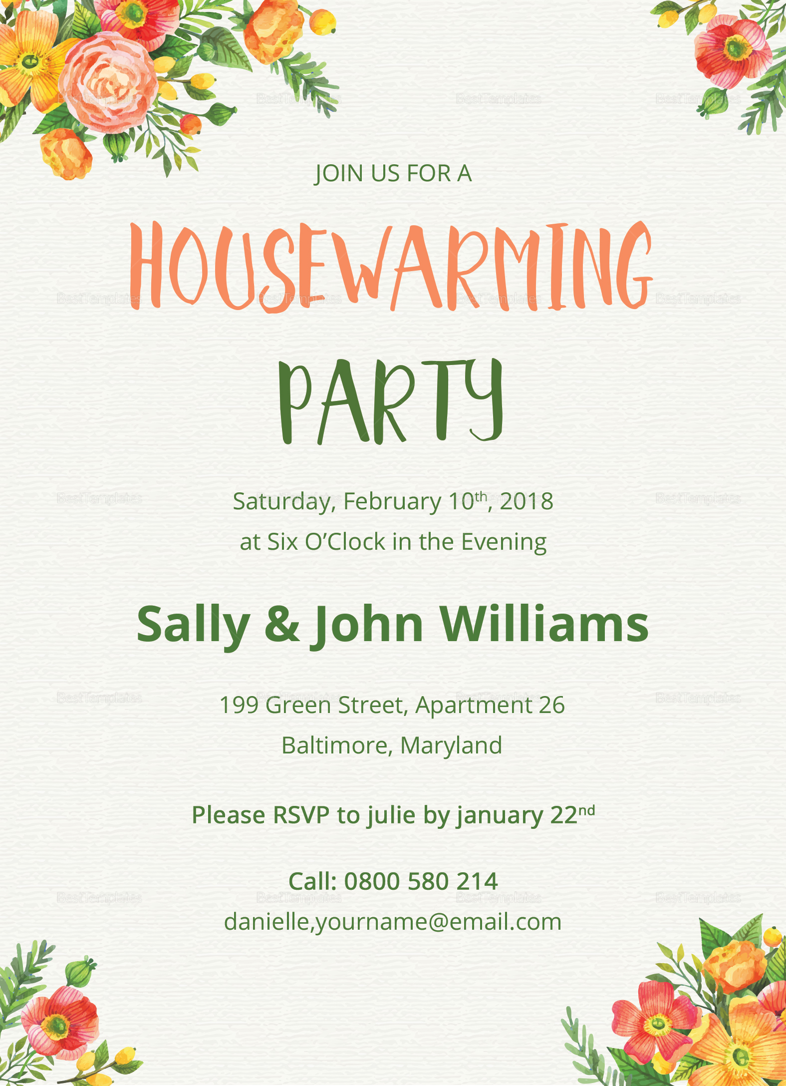 Colorful Housewarming Invitation Design Template In Psd Word Publisher