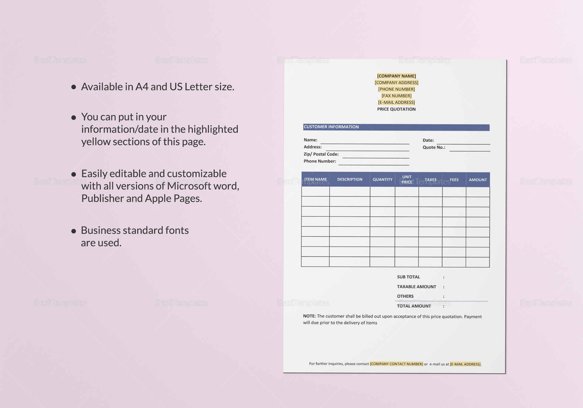 Price Quotation Document Template