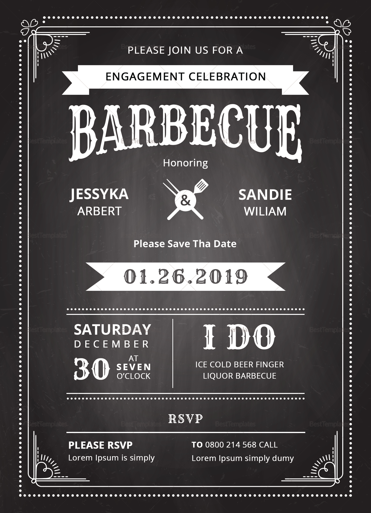 Chalkboard bbq invitation design template in psd word publisher chalkboard bbq invitation template chalkboard bbq invitation template stopboris Image collections