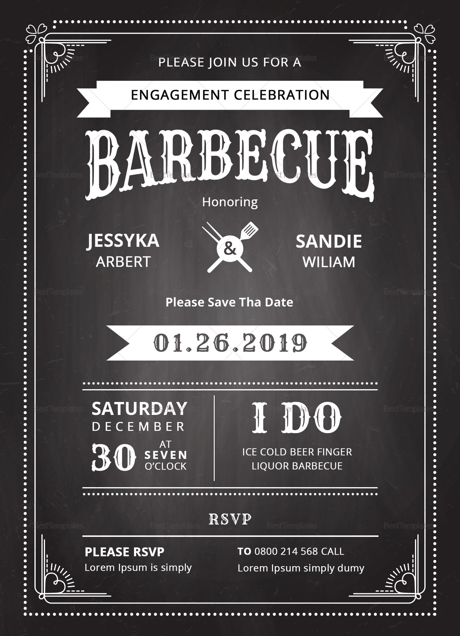Chalkboard BBQ Invitation Template