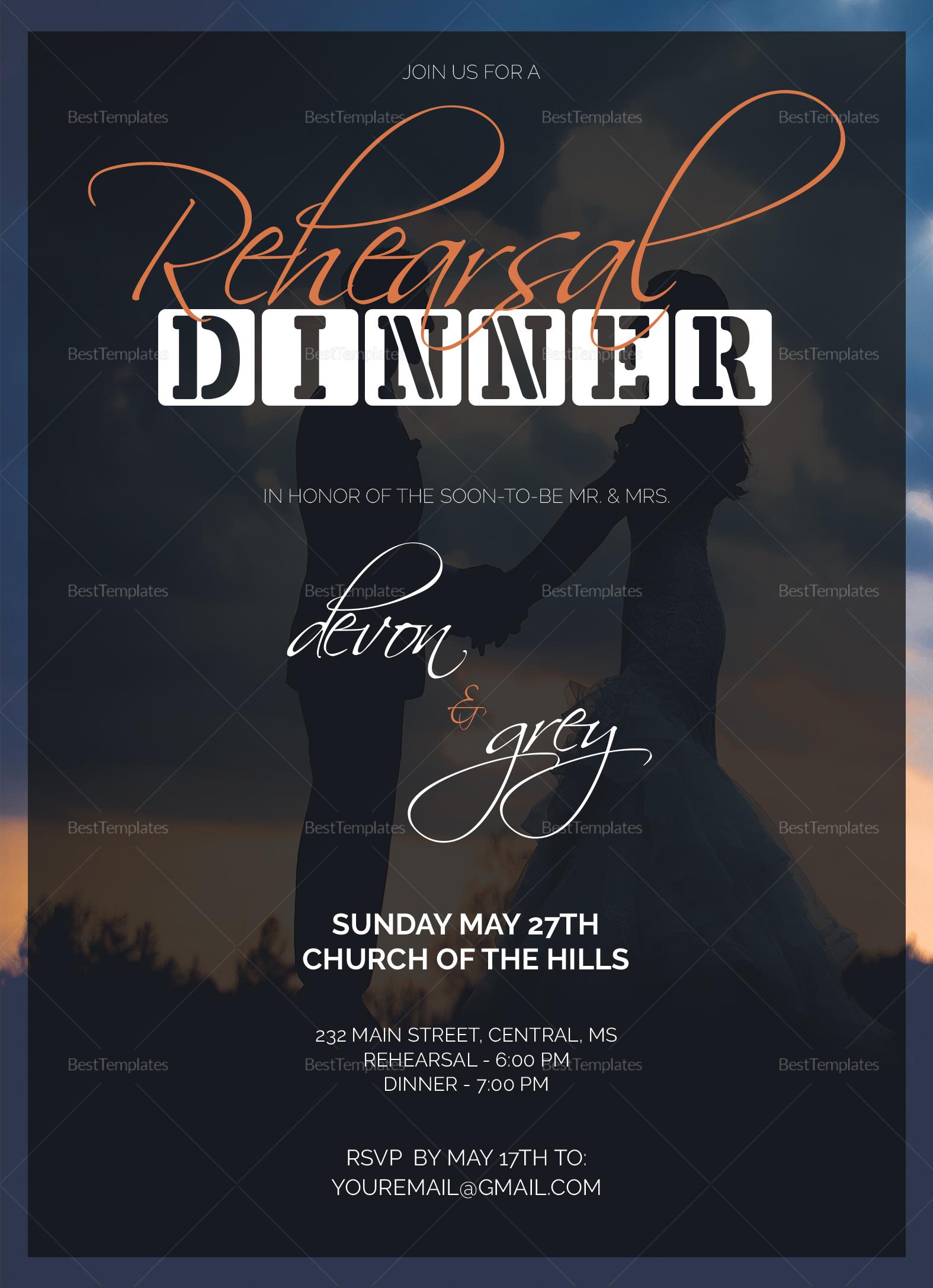 Wedding Dinner Invitation Card Design Template in Word