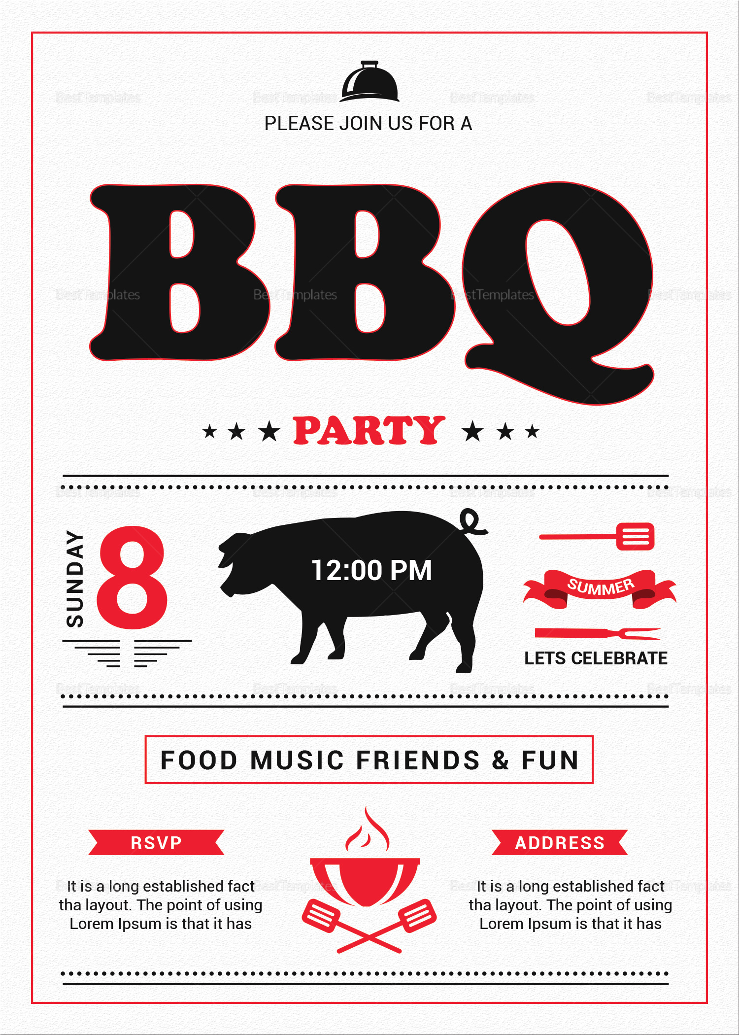 Tasty Barbecue Lunch Invitation Template