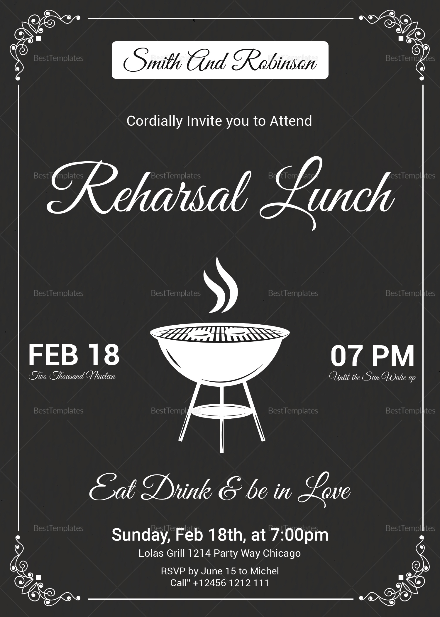 Vintage Lunch Invitation Template