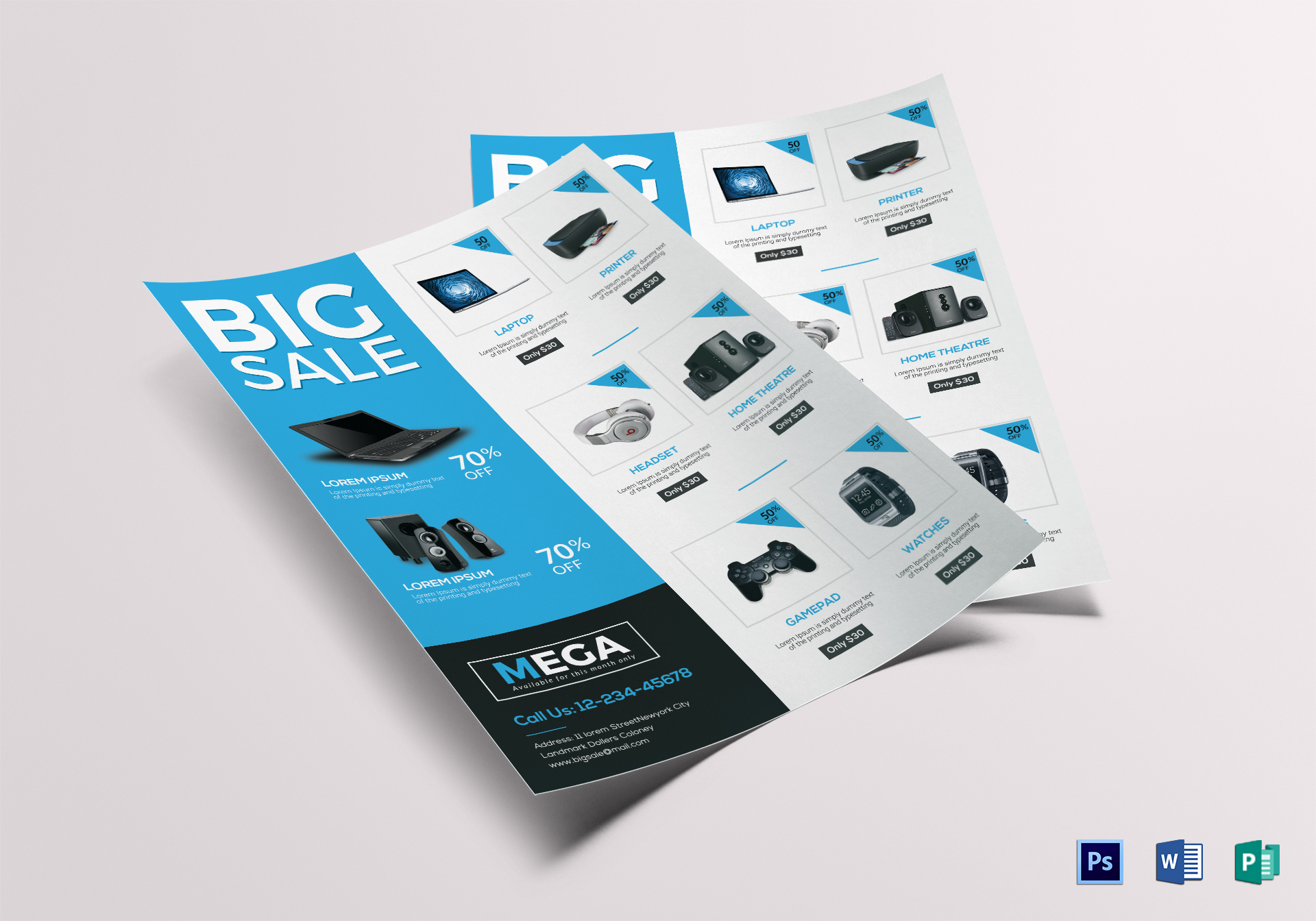 Electronic Big Sale Flyer Design Template in Word, PSD, Publisher
