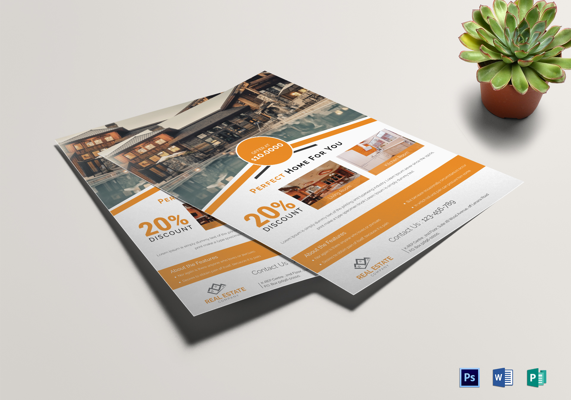 Orange Real Estate Flyer Template