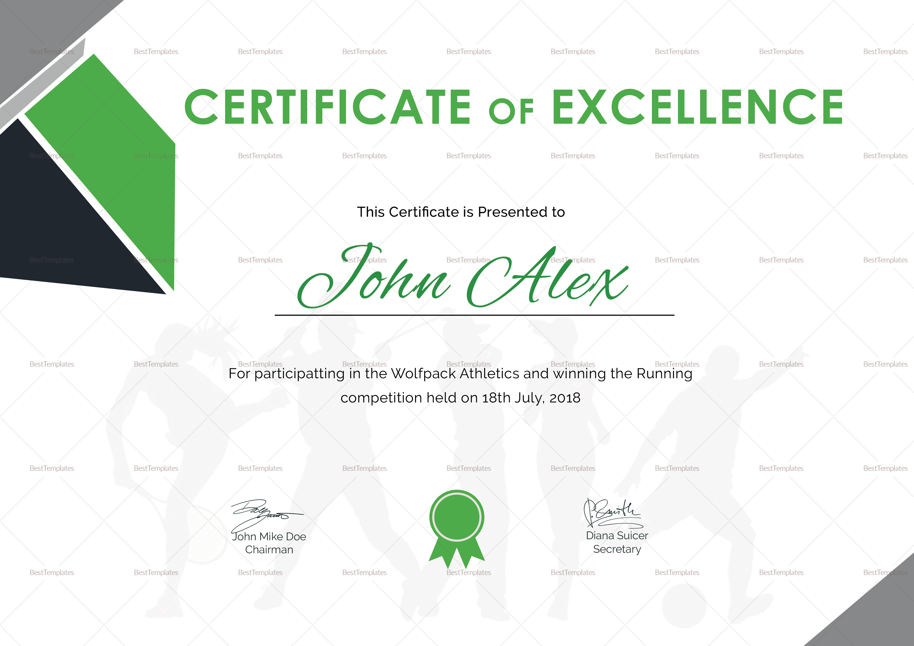 Certificate of Athletic Template
