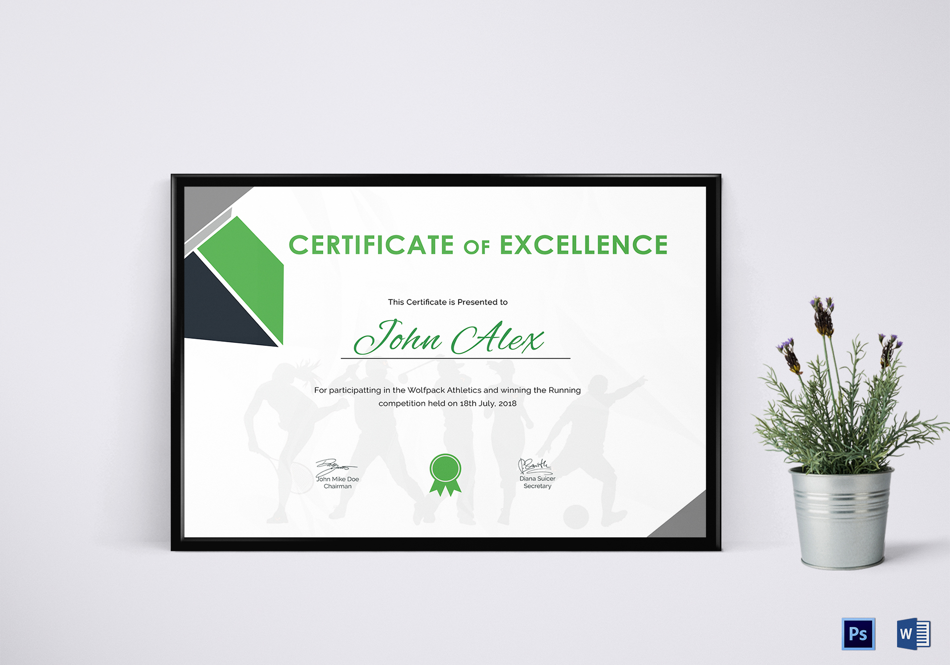 certificate of athletic design template in psd word