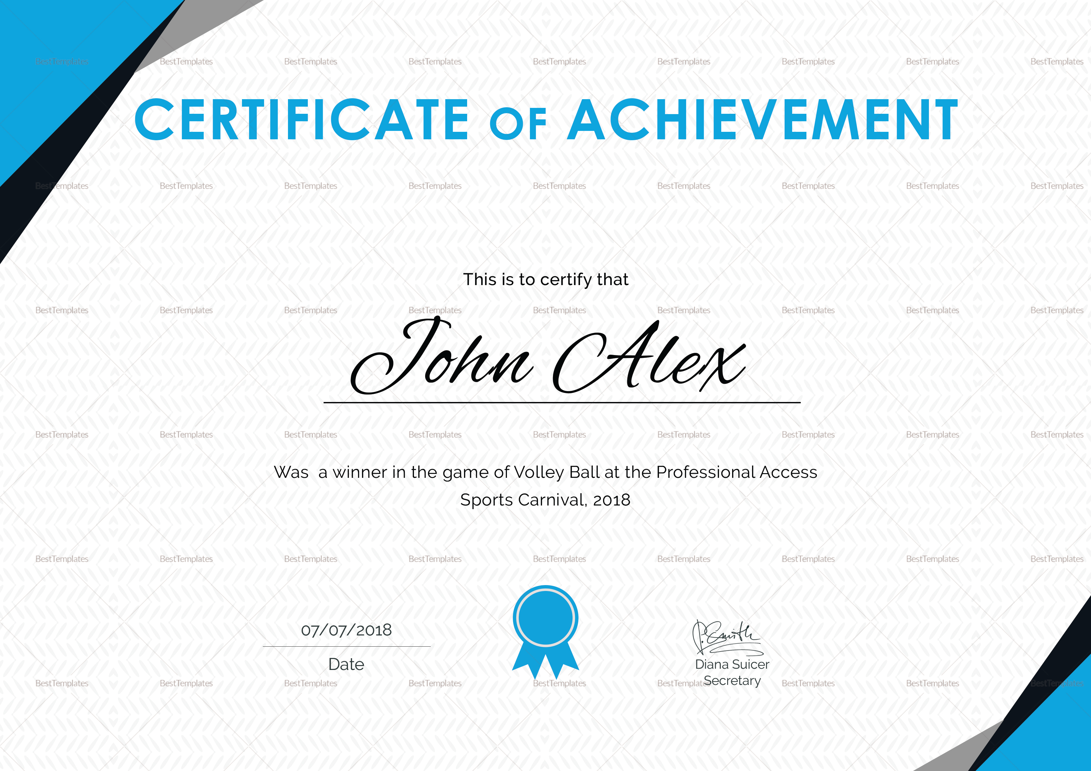 Certificate of Athletic Achievement Template
