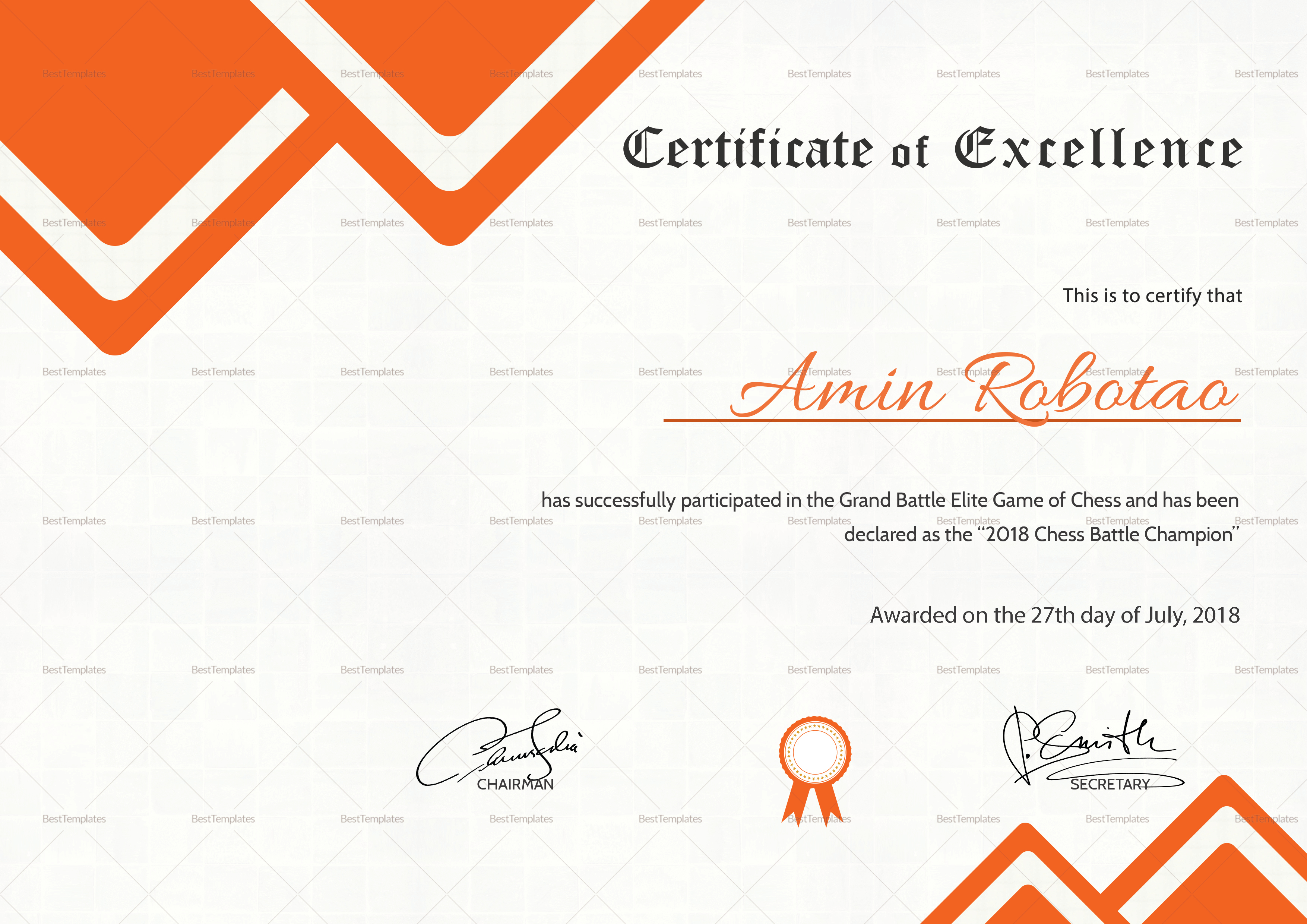 Chess Excellence Certificate Template