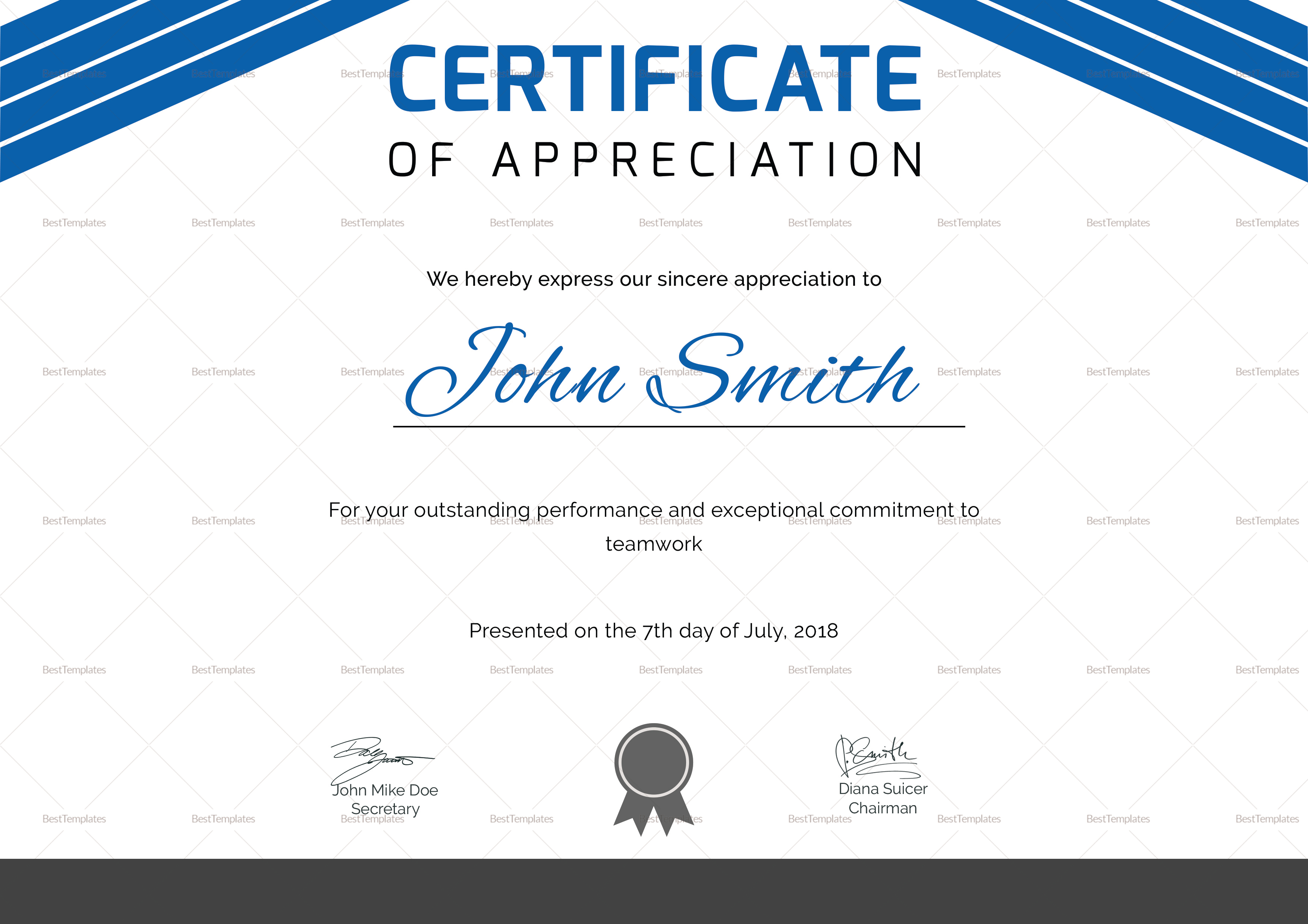 Certificate of Athletic Award Template