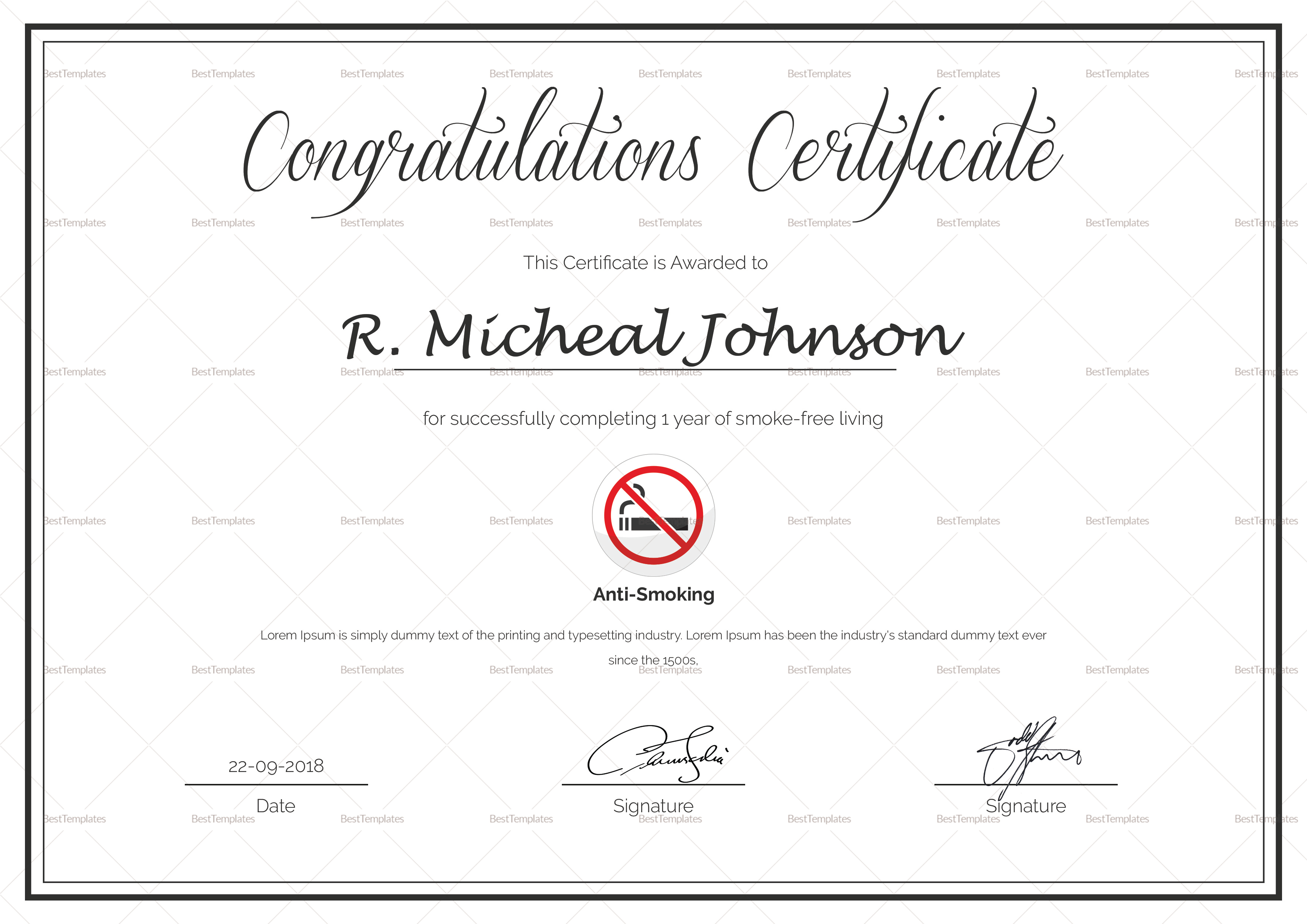 certificate of congratulations for quitting smoking design template