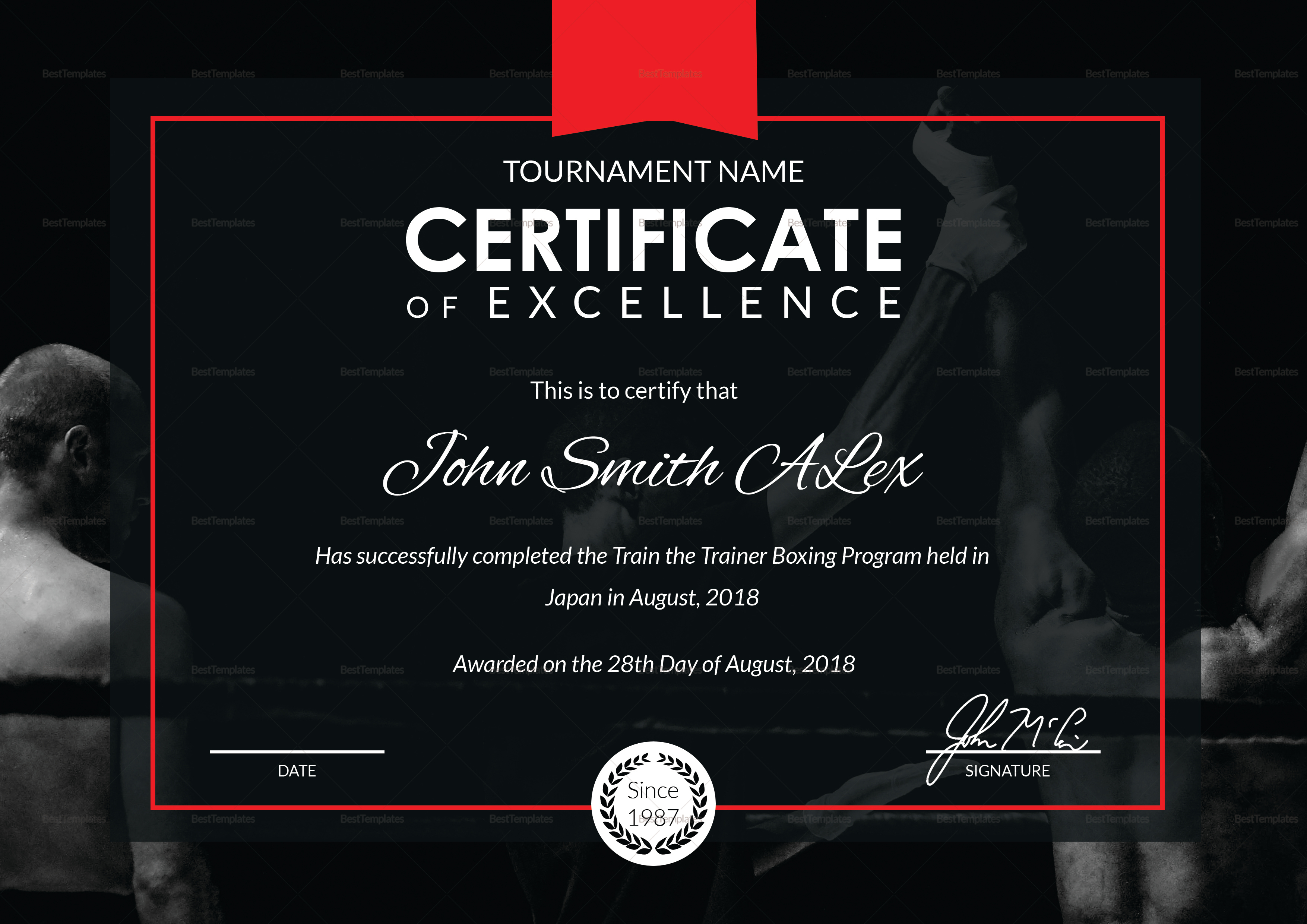 Certificate of Boxing Template