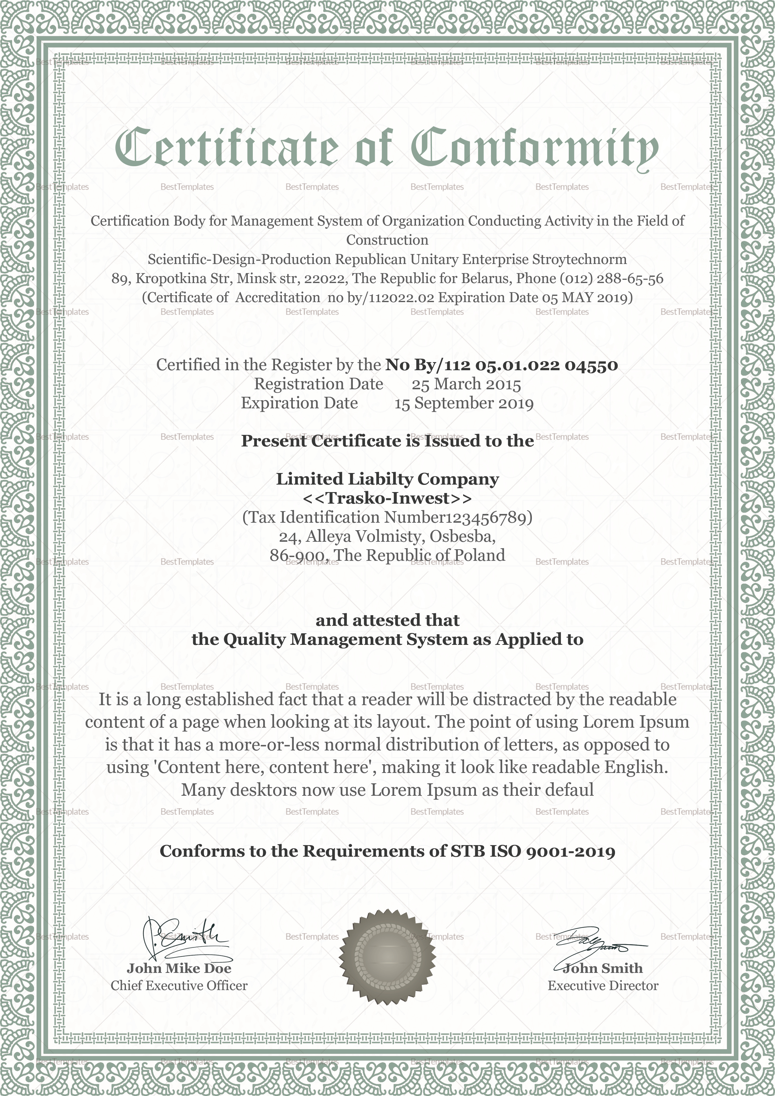 Conformity certificate design template in psd word for Certificate of conformance template word