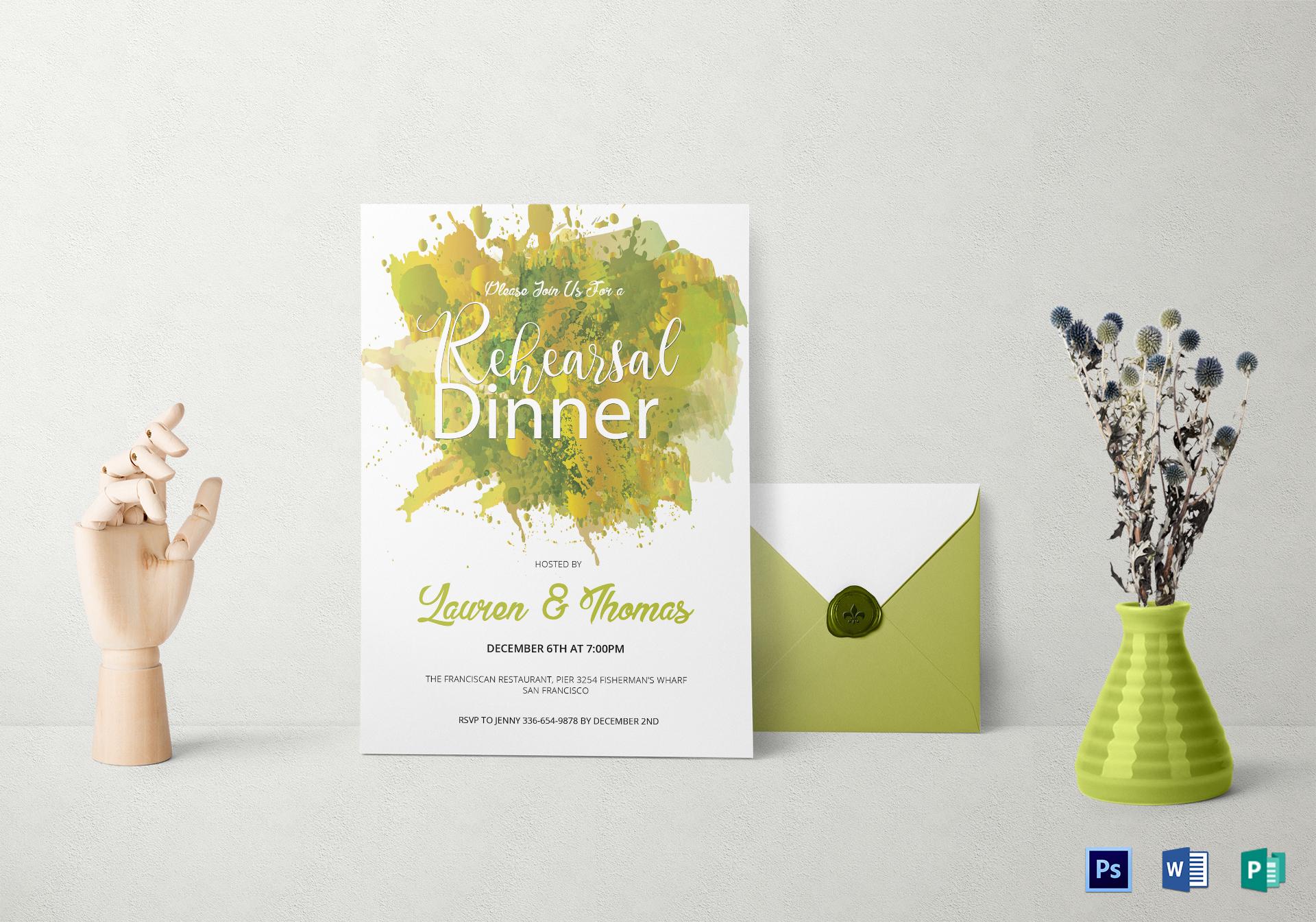Watercolor Rehearsal Dinner Invitation
