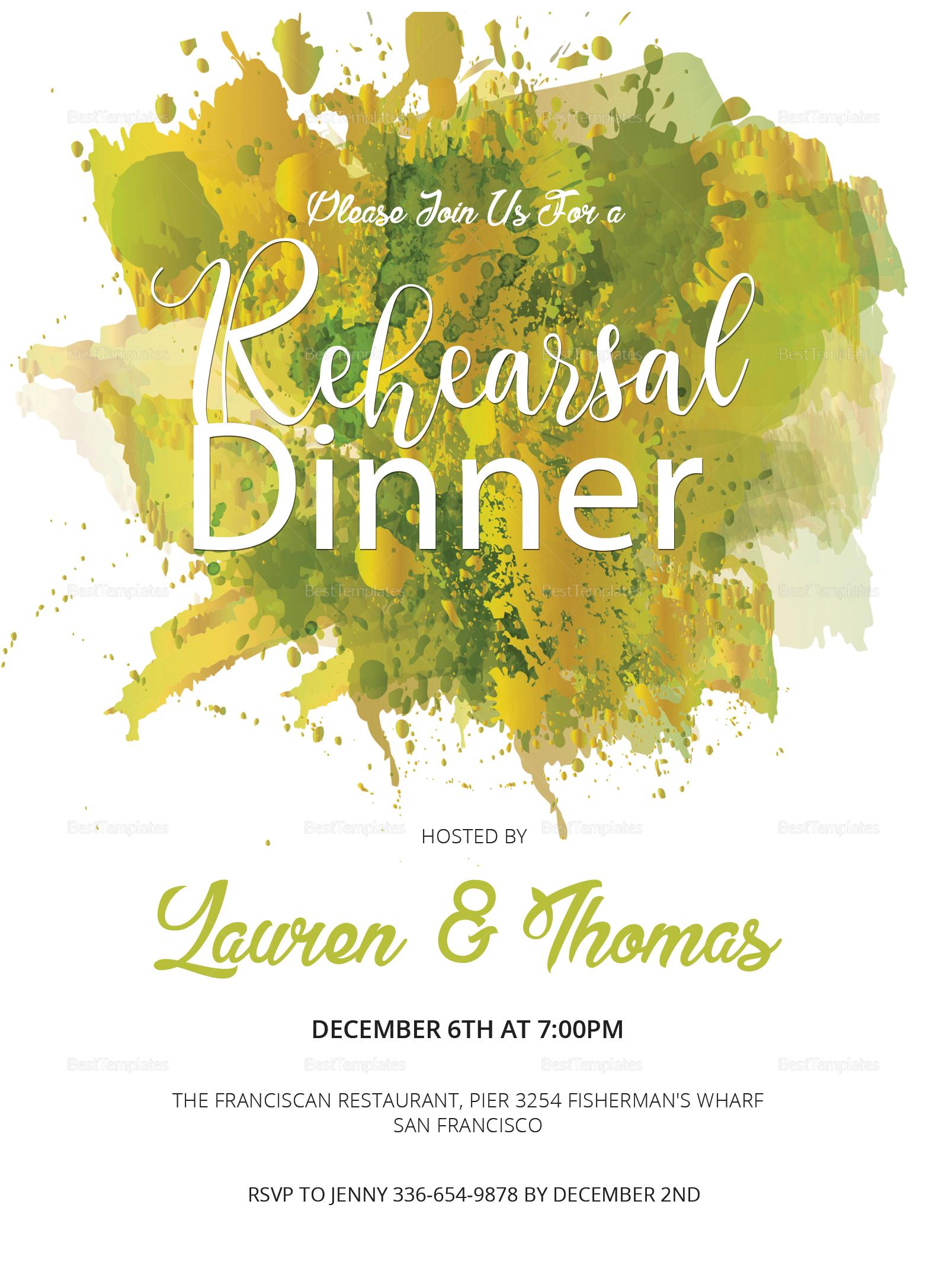 Watercolor Rehearsal Dinner Invitation Design