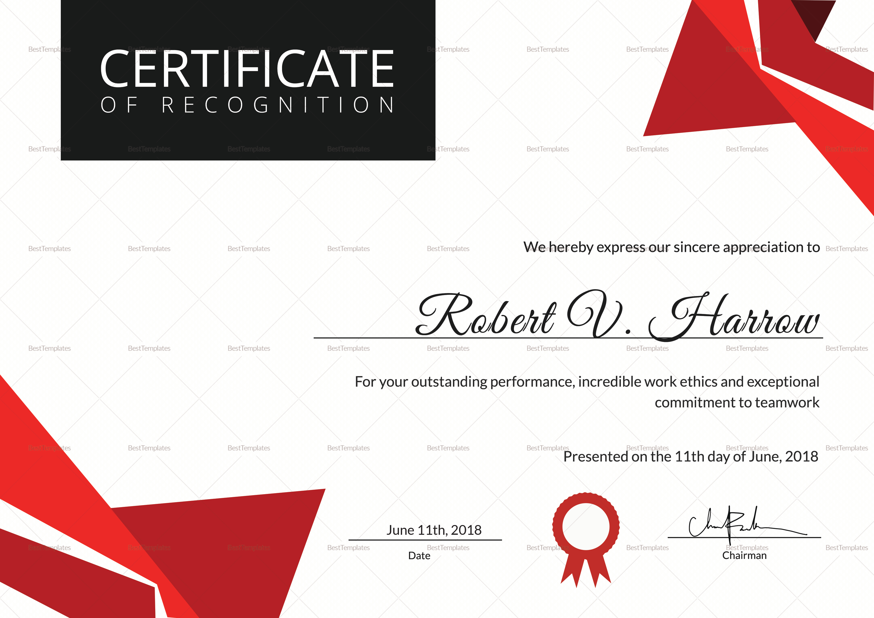 Certificate of Coach Recognition Template