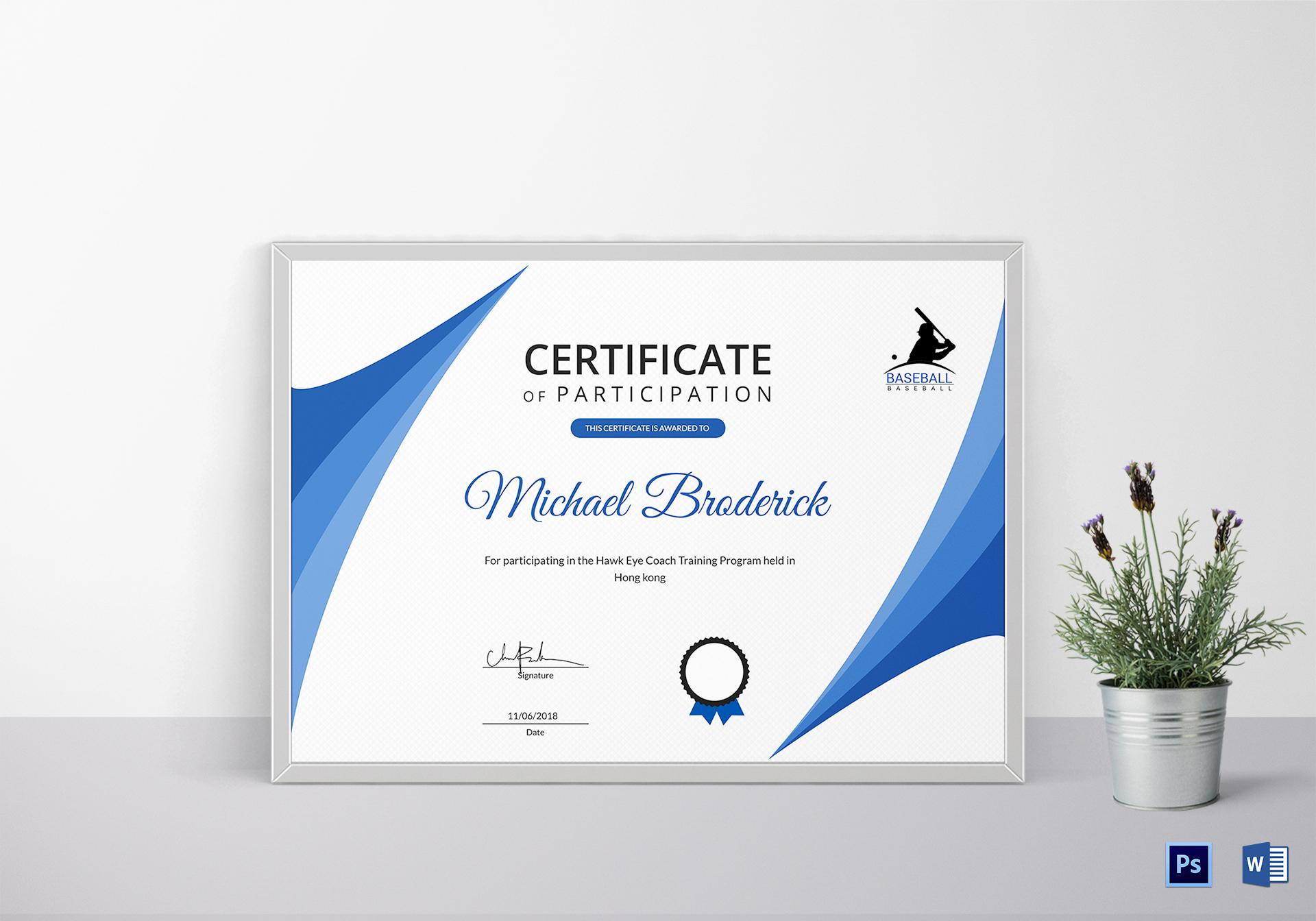 Certificate of Coach Participation