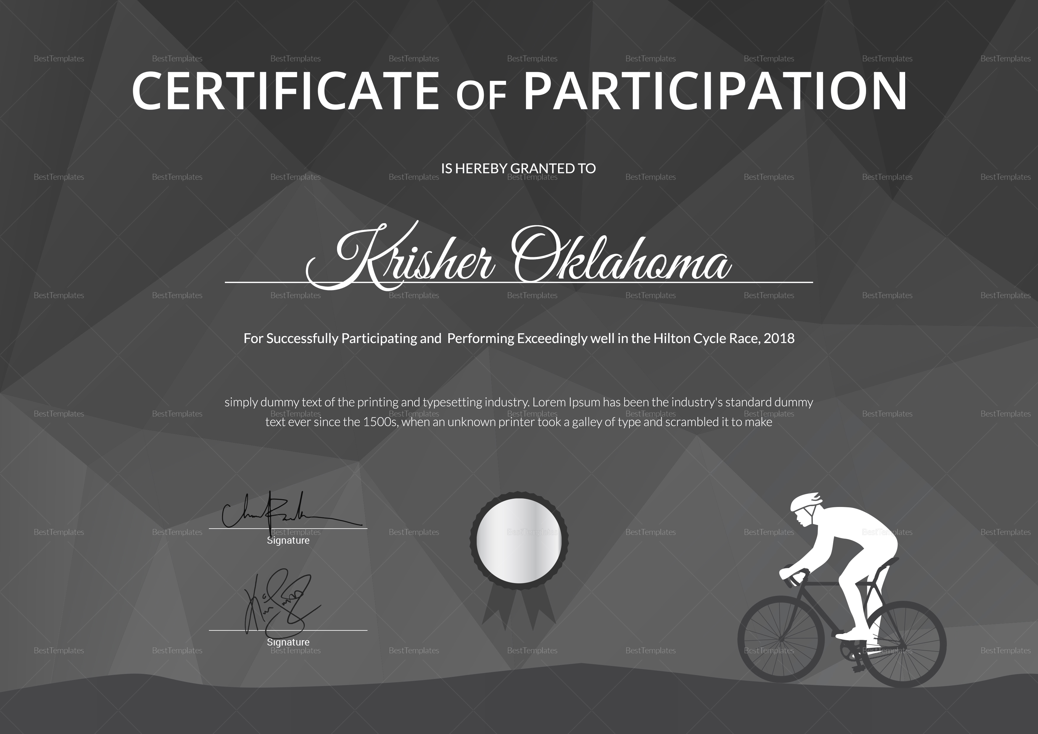 Certificate of Cycling Award Template