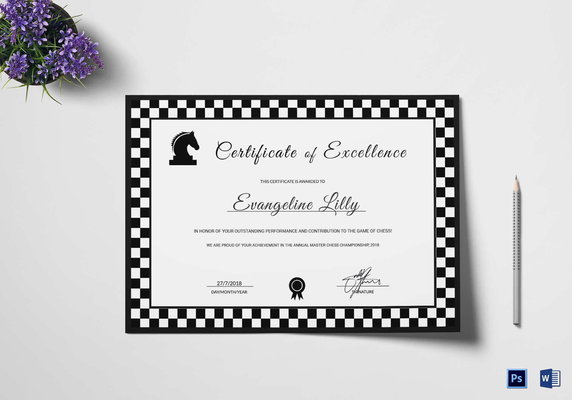 Sample Chess Excellence Certificate
