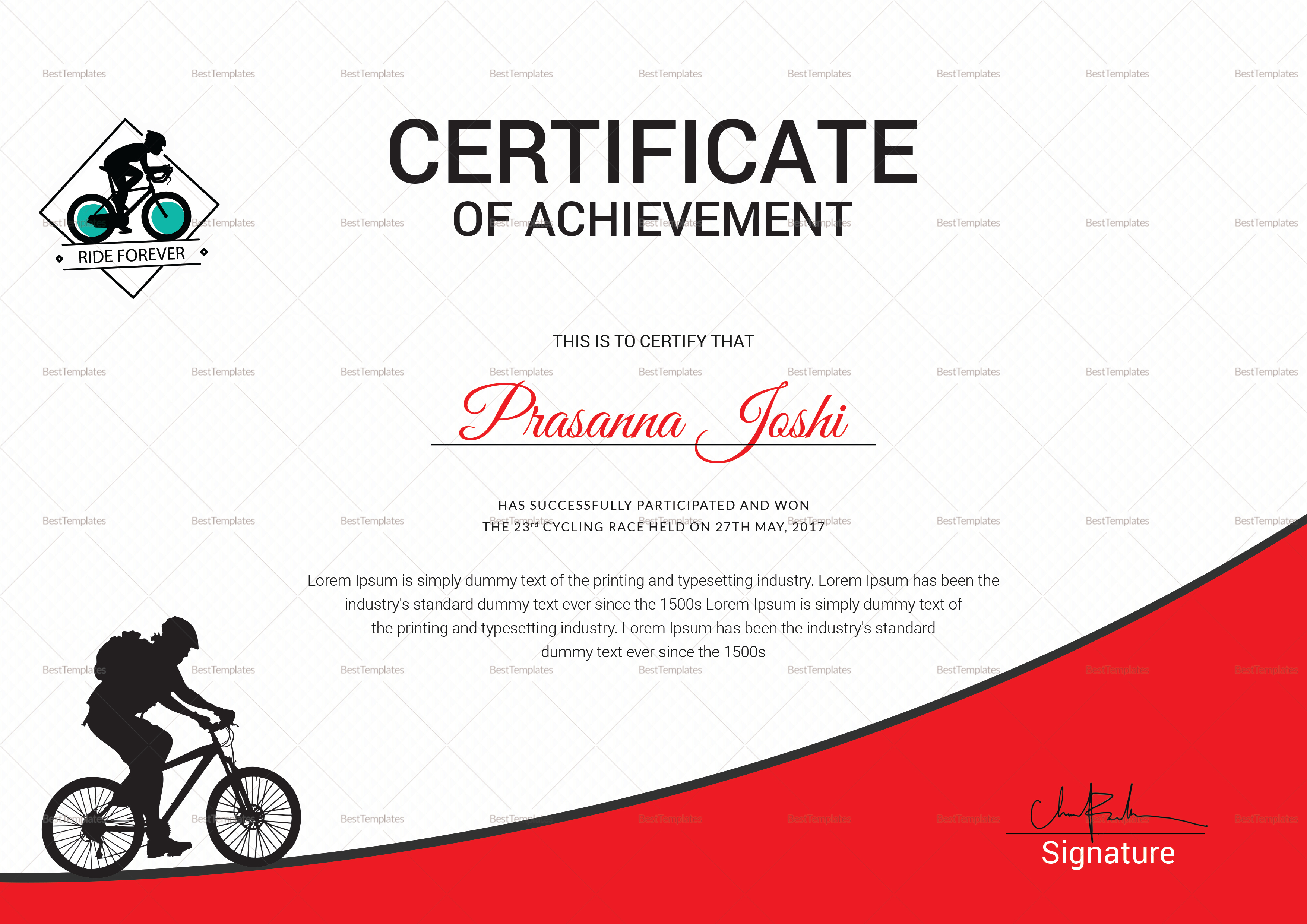 Certificate of First Place Template
