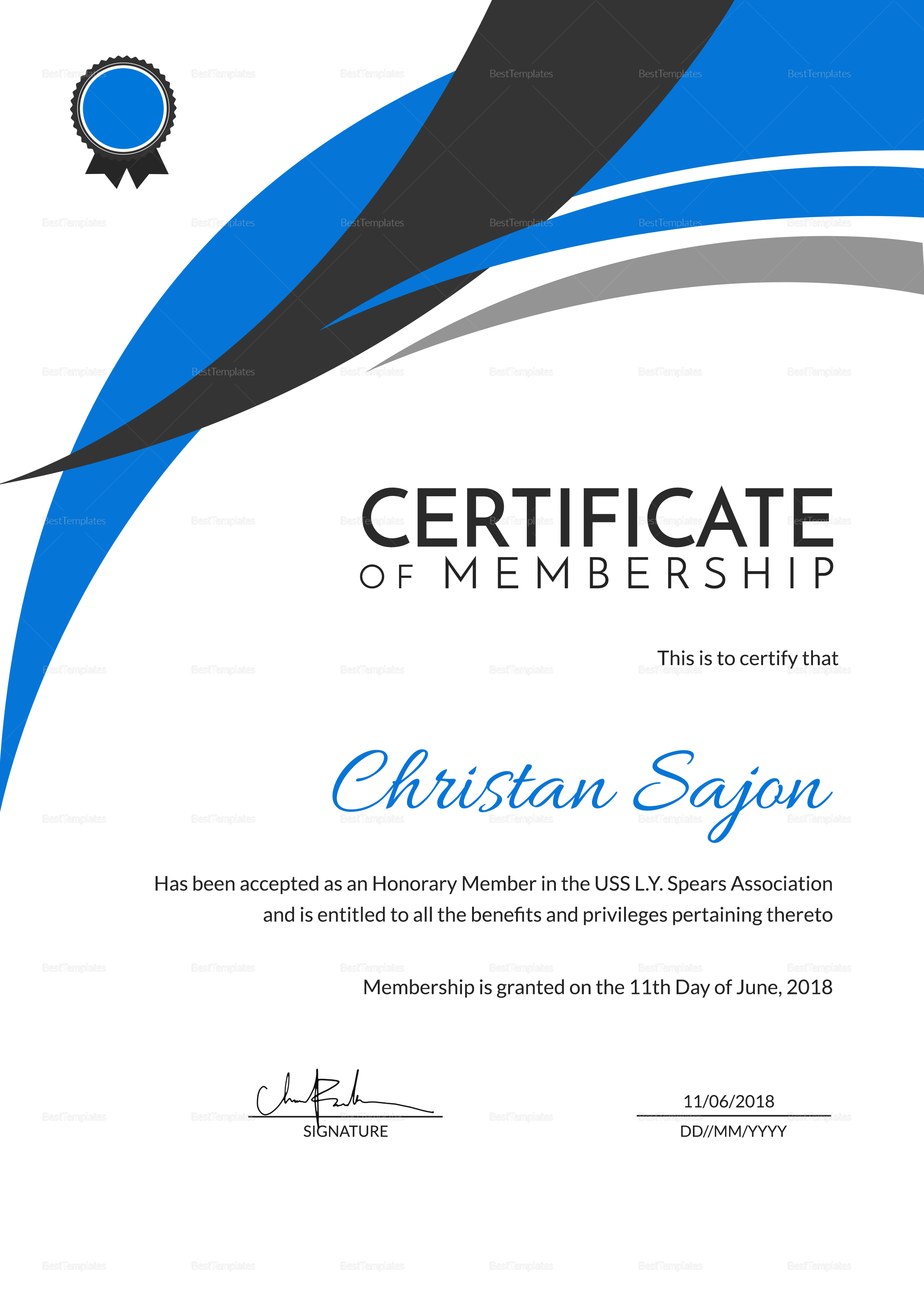 Certificate of Honorary Achievement Template