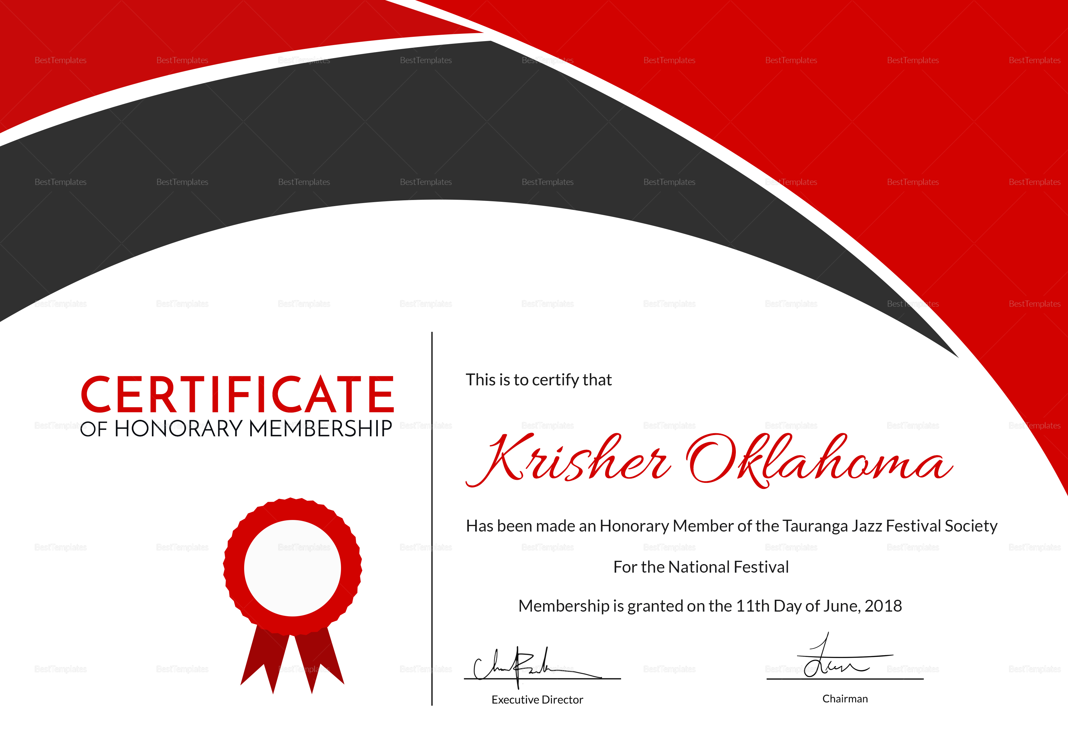 Certificate of Honorary Appreciation Template