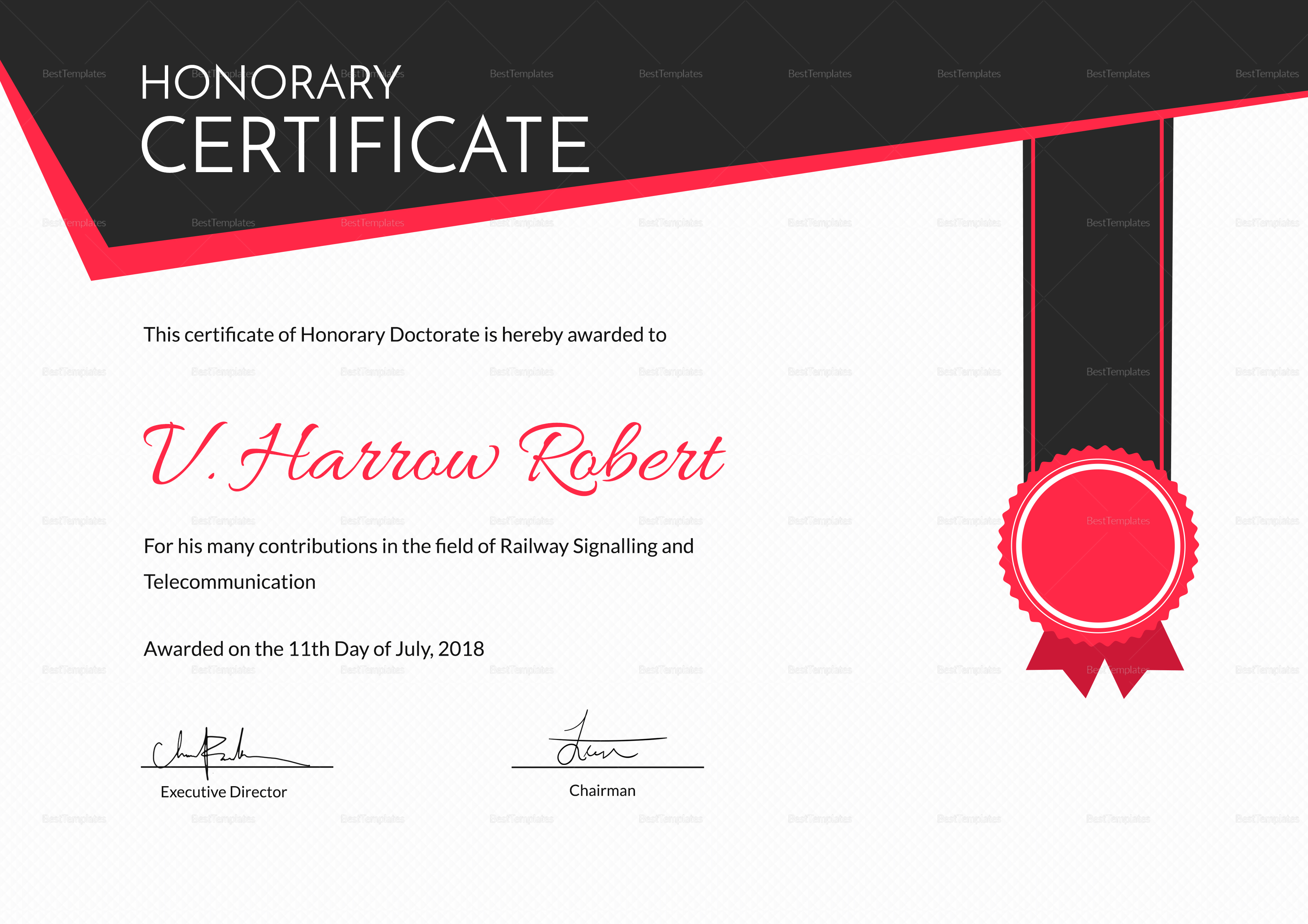 Certificate of Honorary Excellence Template