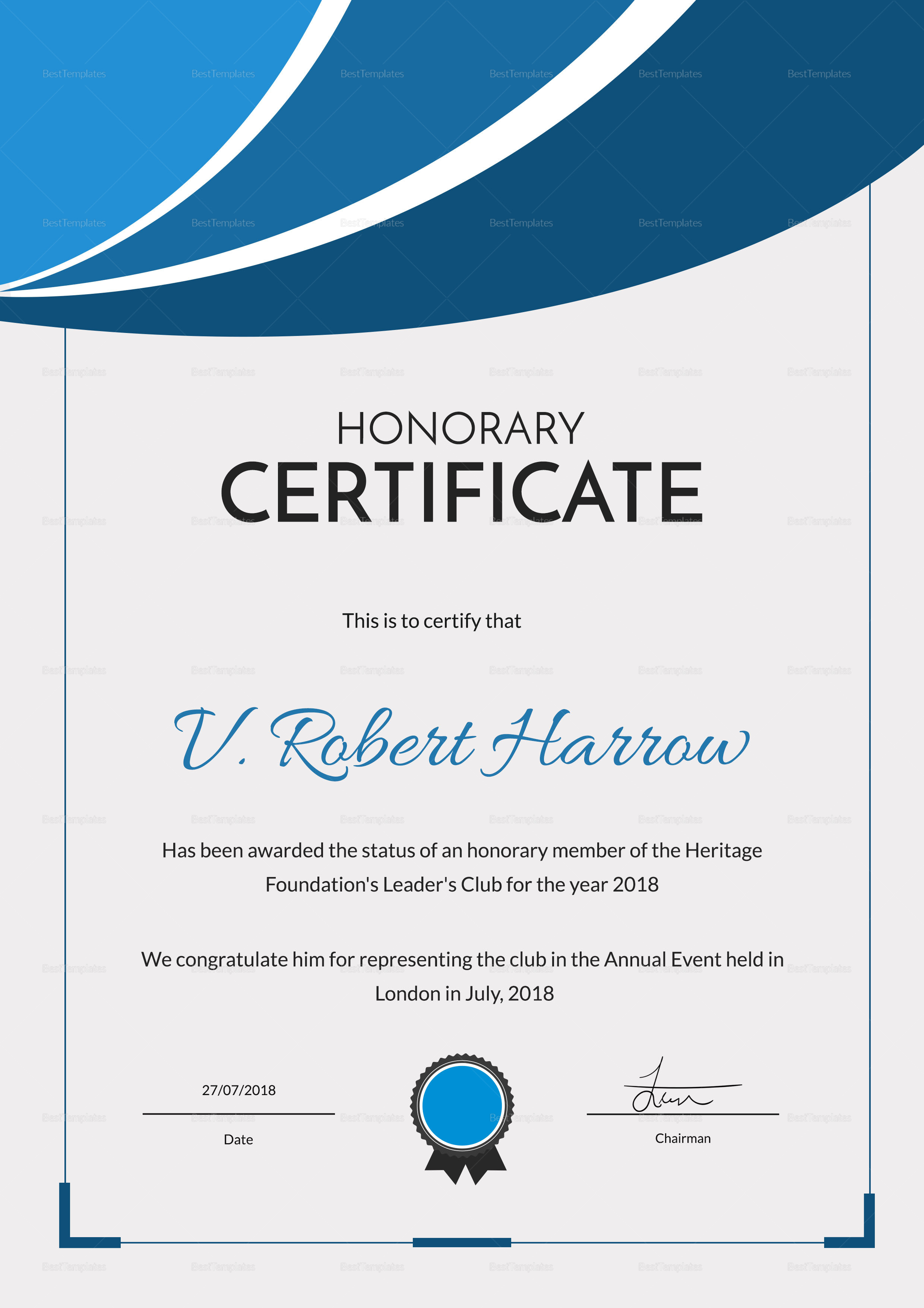 Certificate of Honorary Participation Template