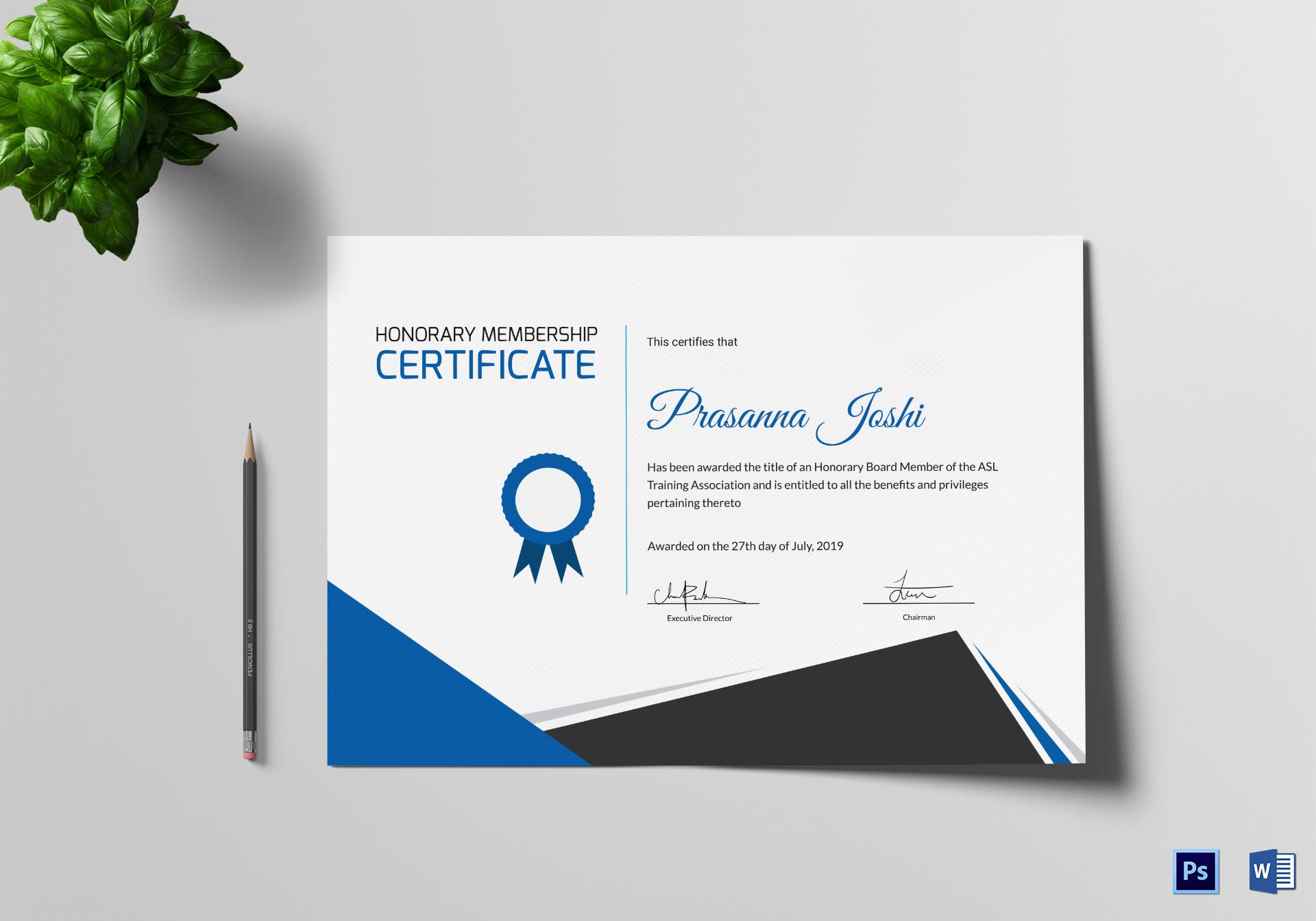 Certificate of Honorary Training