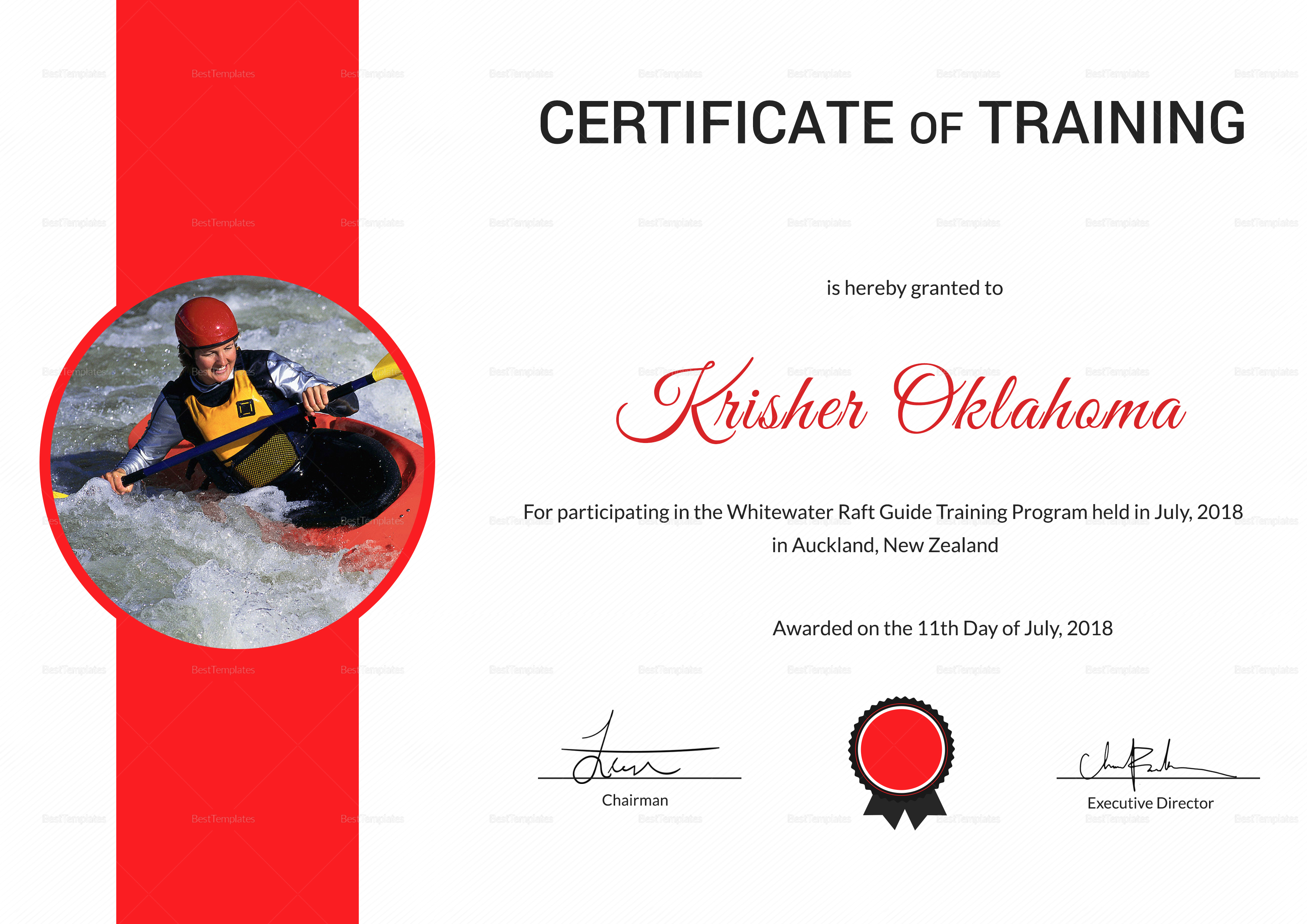 Rafting Participation Certificate Template