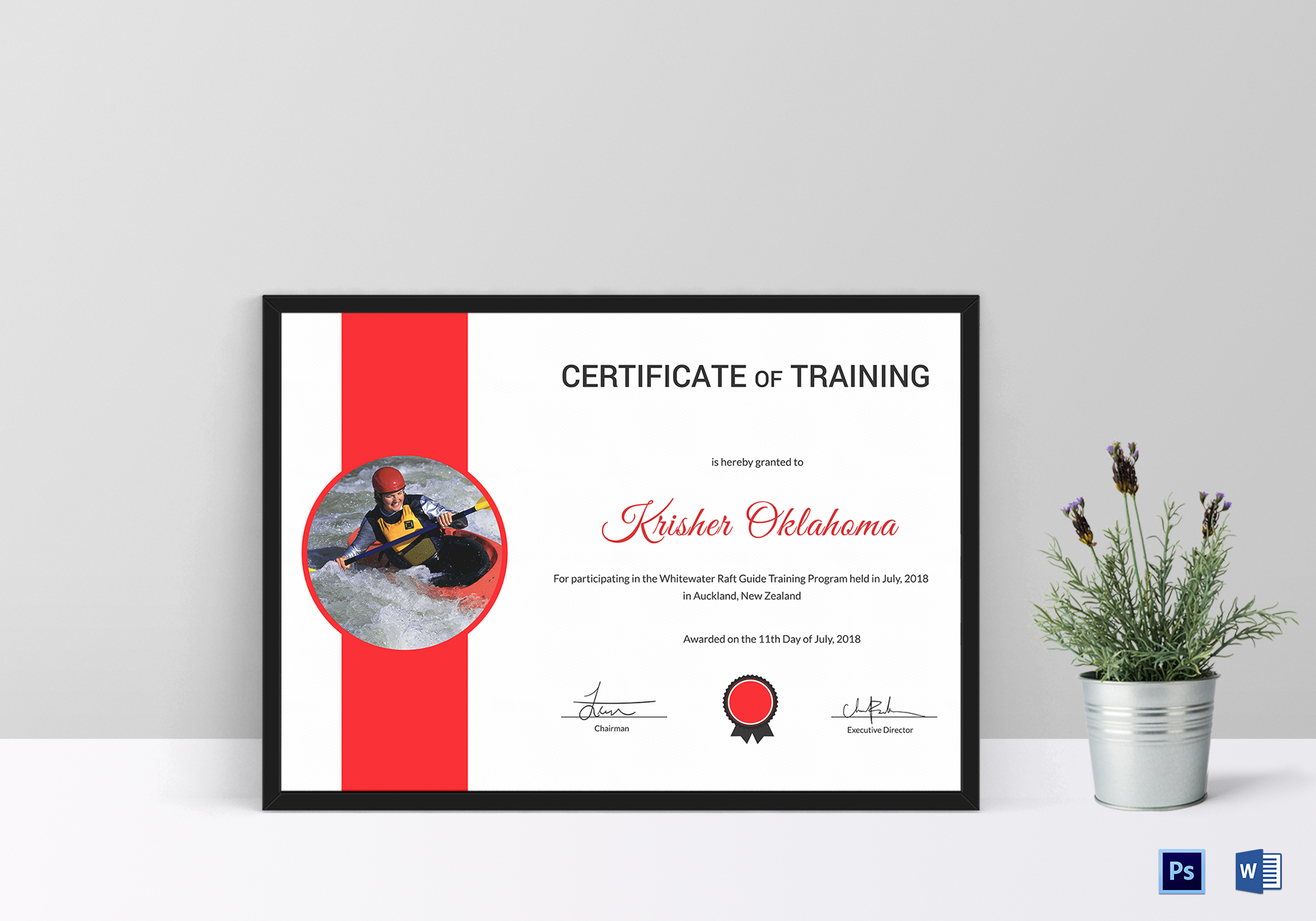 Rafting Participation Certificate