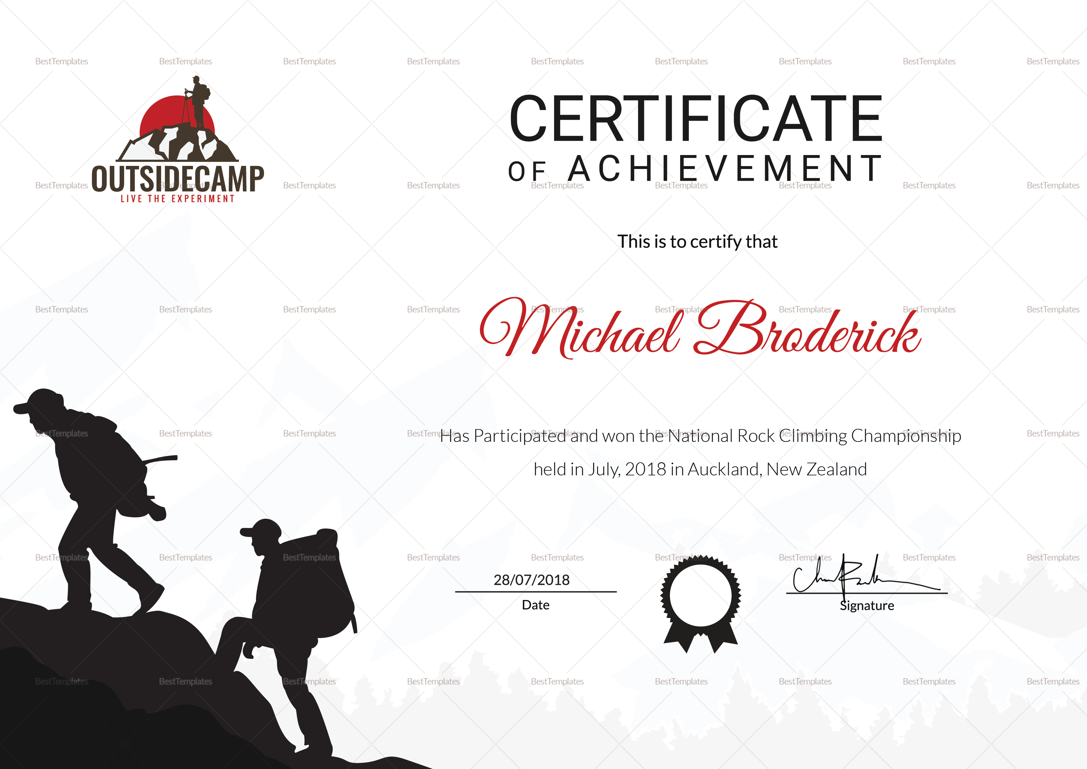 Rock Climbing Participation Certificate Template