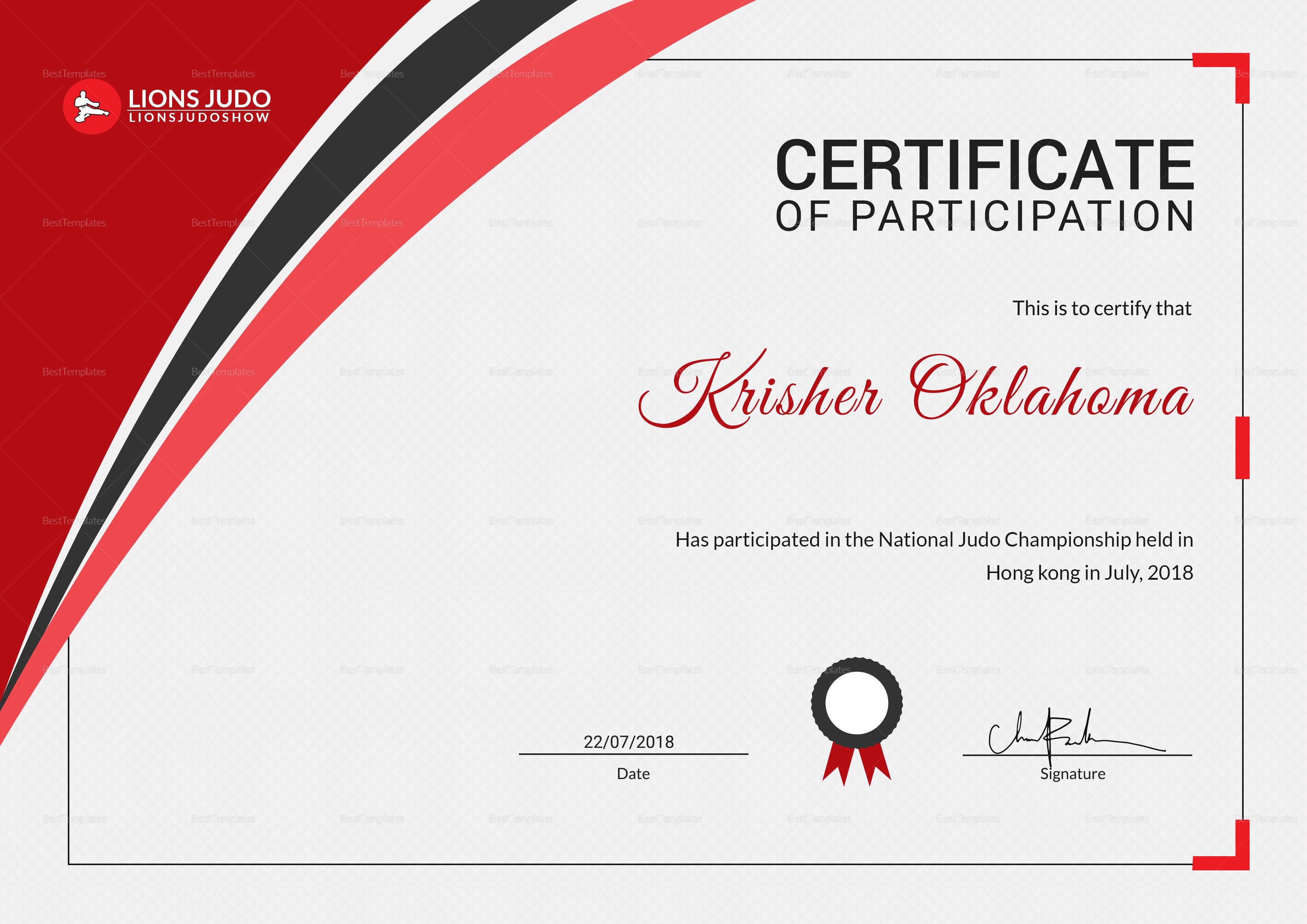 certificate of judo design template in psd  word