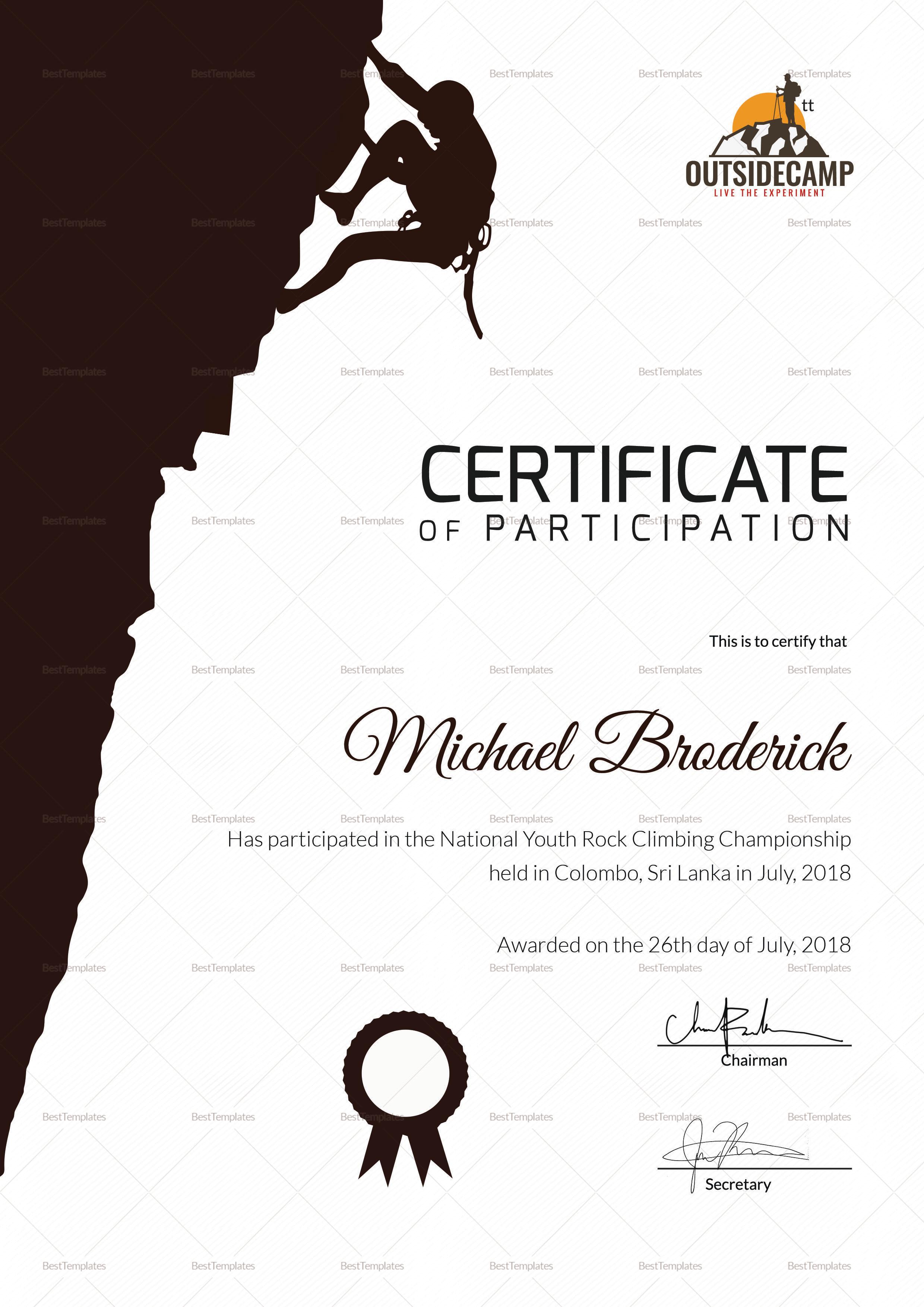 Hard Rock Climbing Participation Certificate Template