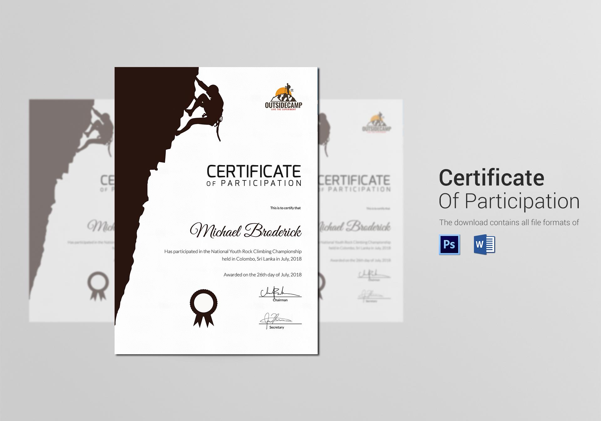 Hard rock climbing participation certificate design template in psd hard rock climbing participation certificate template yelopaper Gallery