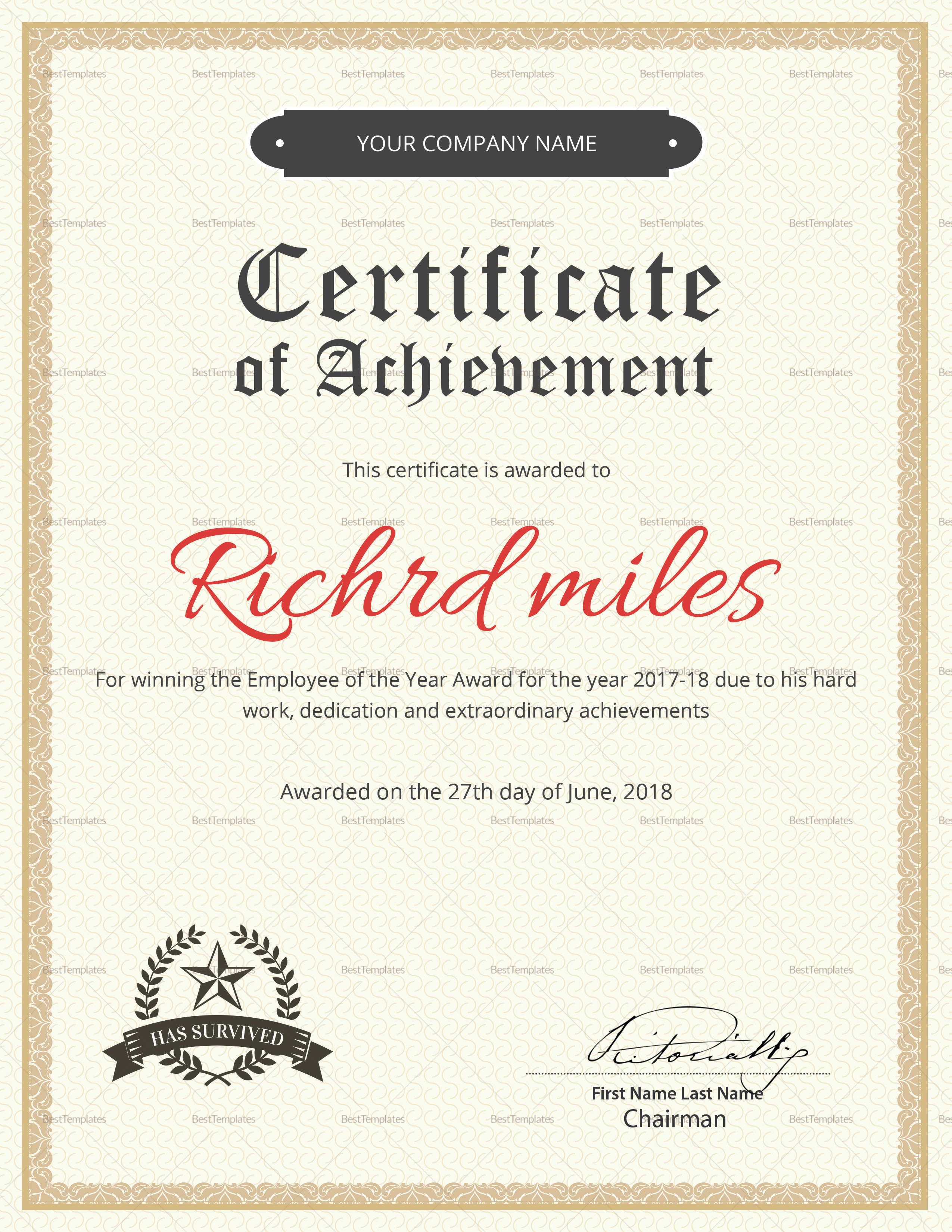 Way to Go Certificate Template  Education World