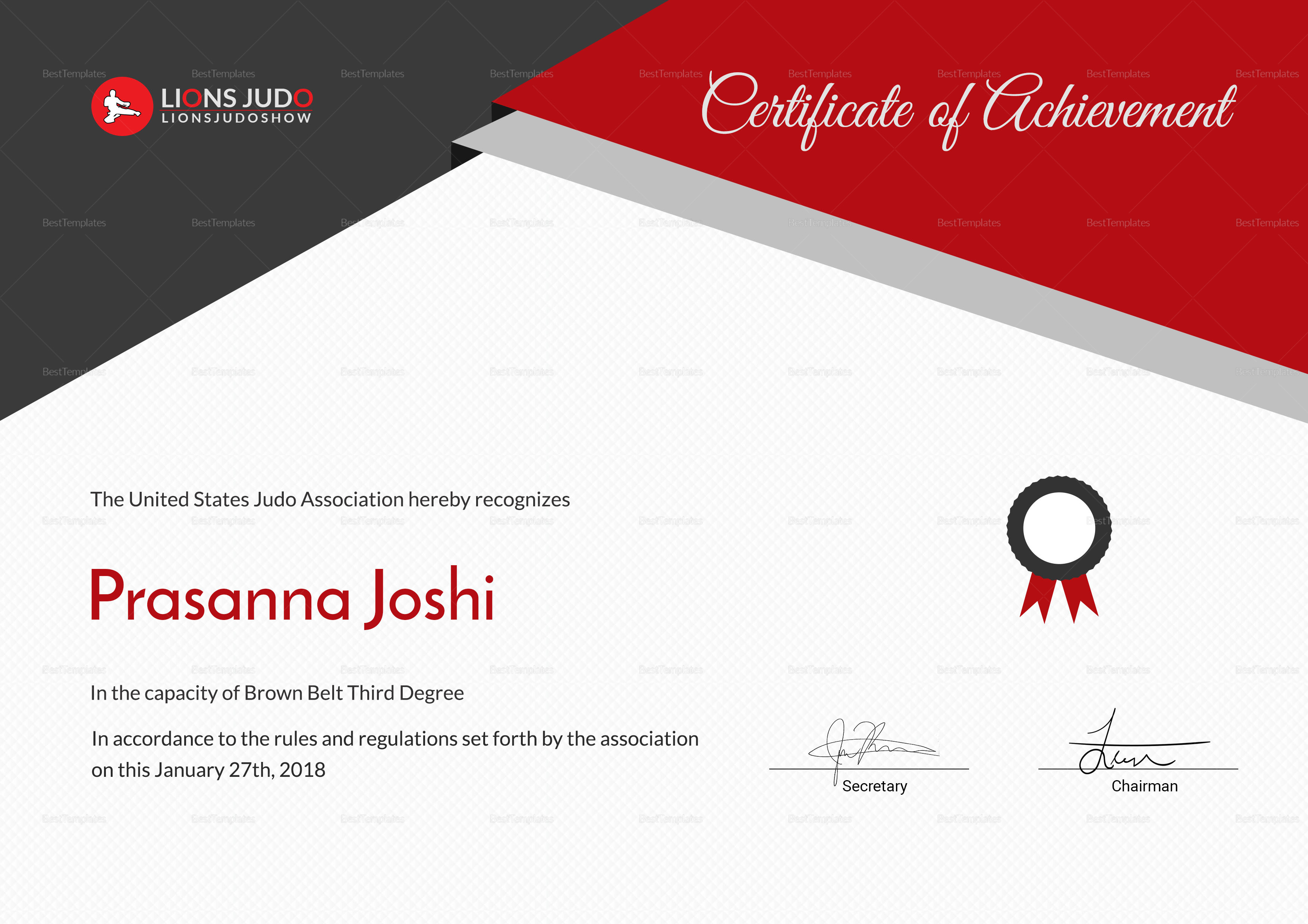 Sample Certificate of Judo Template